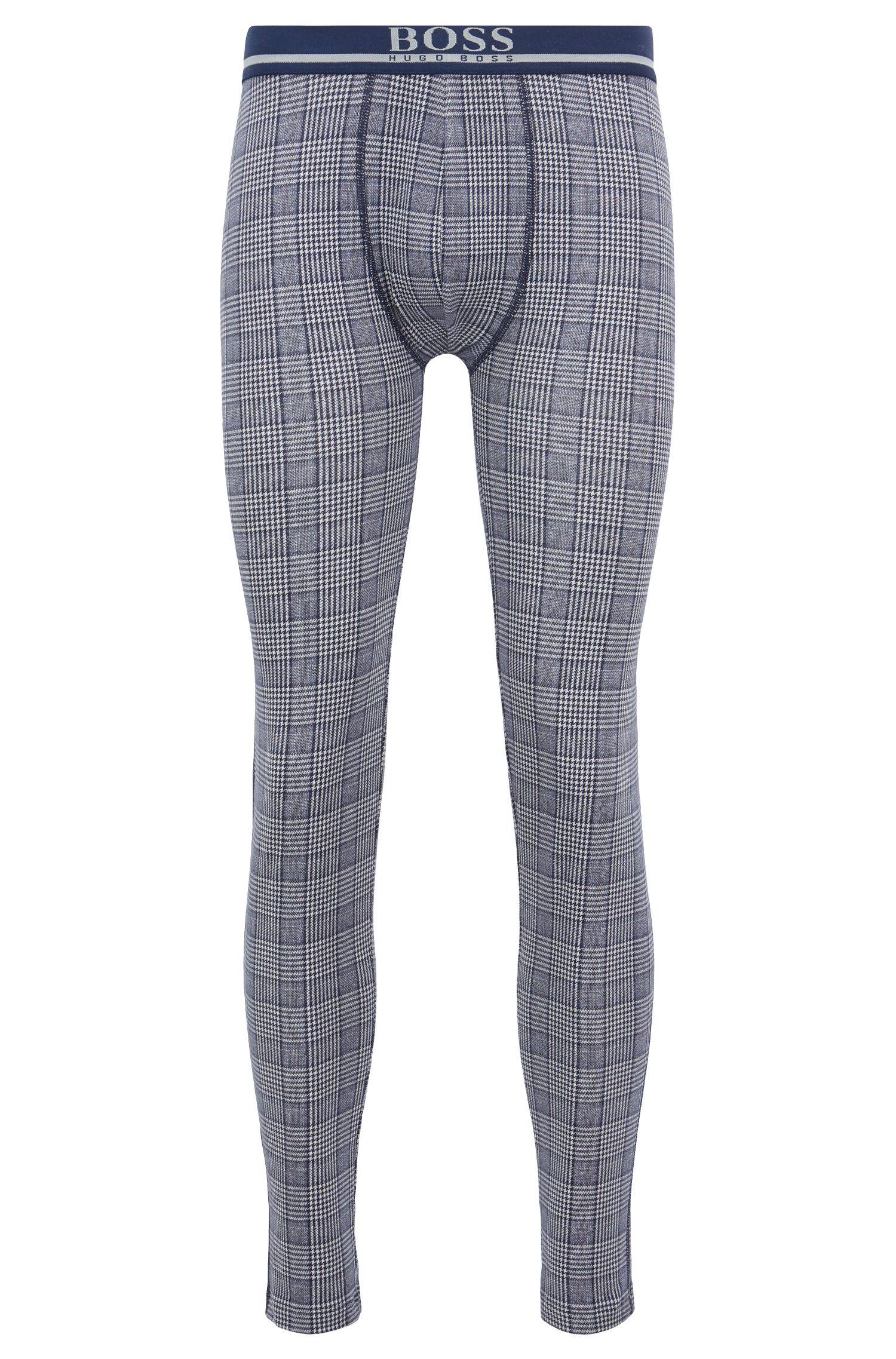 Stretch-cotton long johns with seasonal check print, Open Grey
