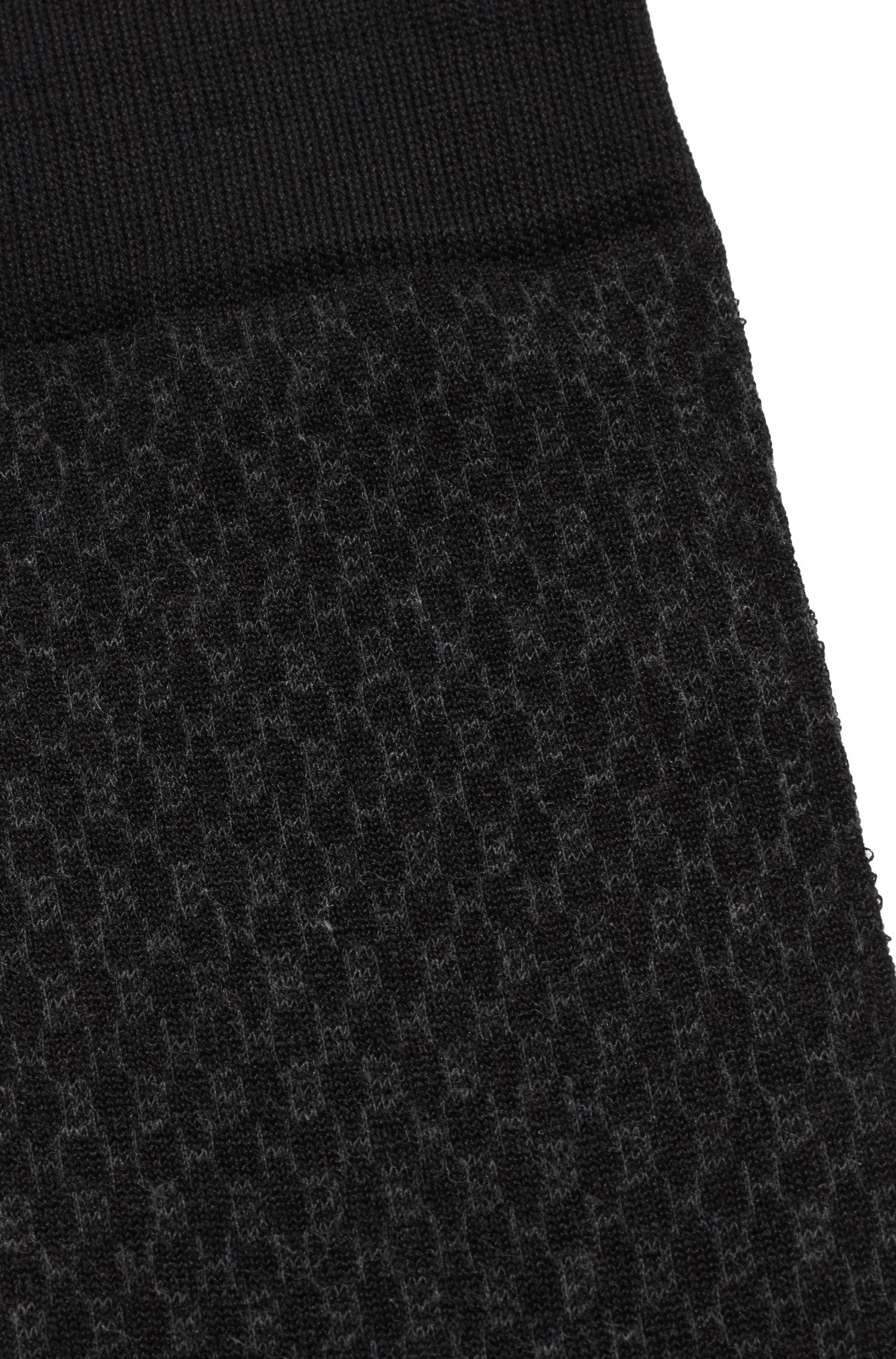 Monogram-patterned socks in a mercerised cotton blend, Black