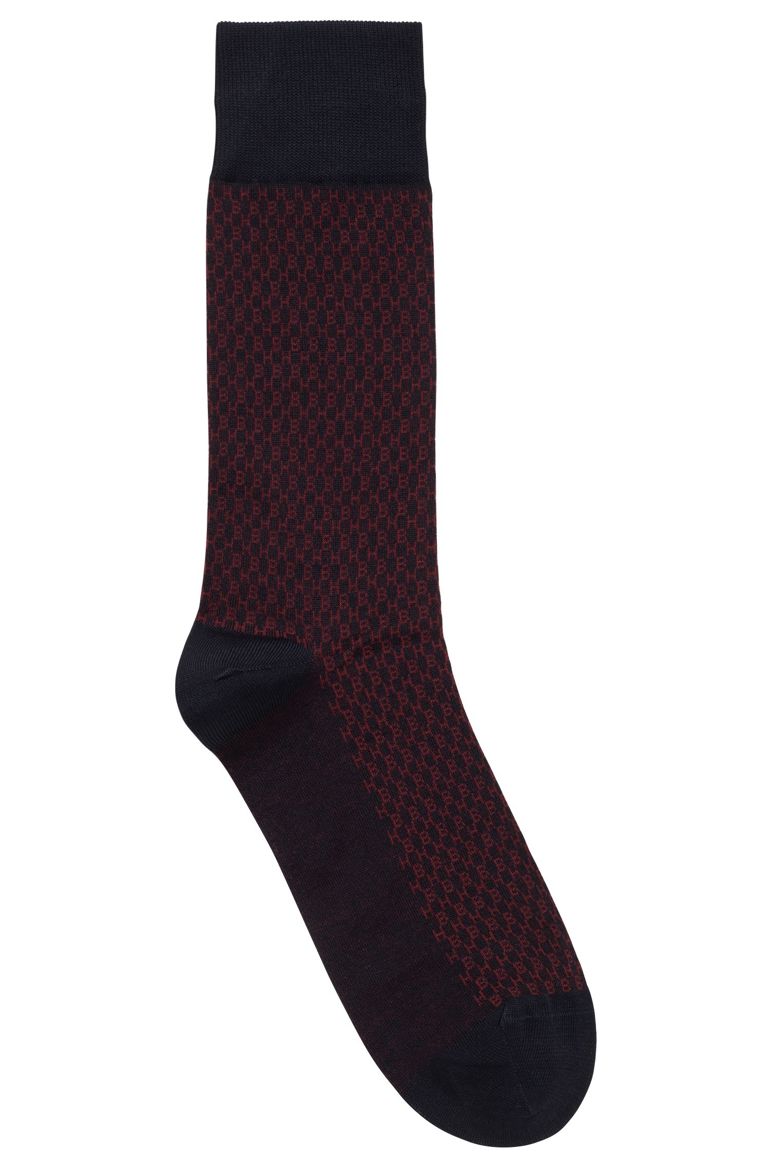 Monogram-patterned socks in a mercerised cotton blend, Dark Blue