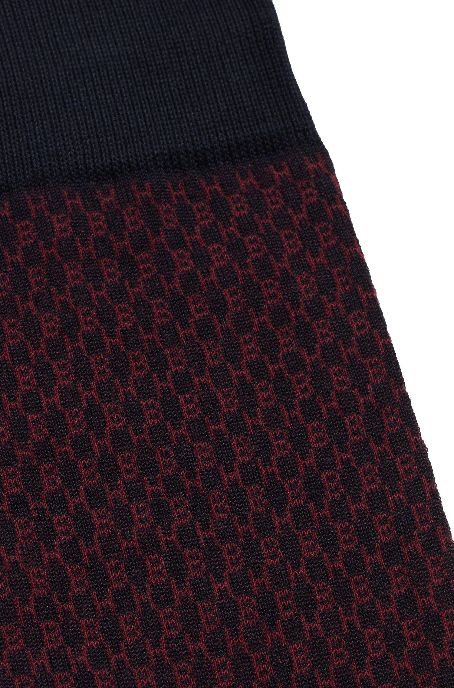 Chaussettes en coton mélangé mercerisé à motif monogramme, Bleu foncé