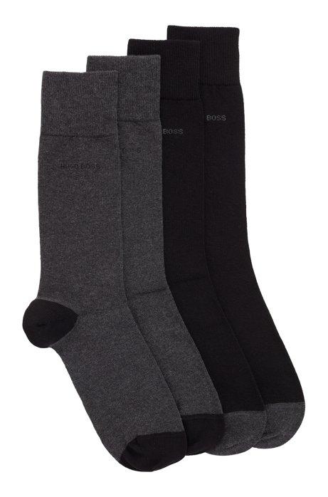 Lot de deux paires de chaussettes en coton stretch mélangé, Noir