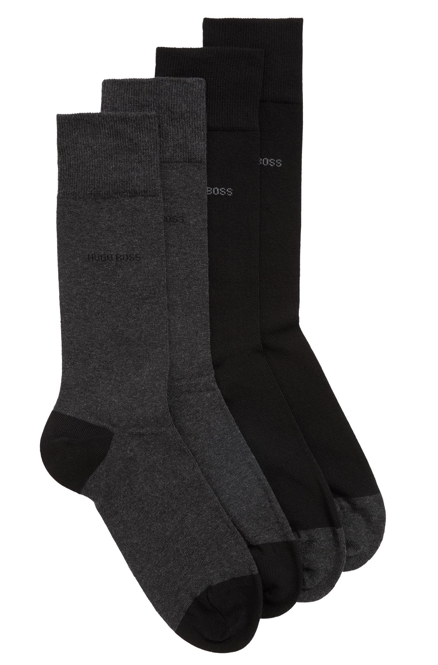 Zweier-Pack Socken aus elastischem Baumwoll-Mix, Schwarz
