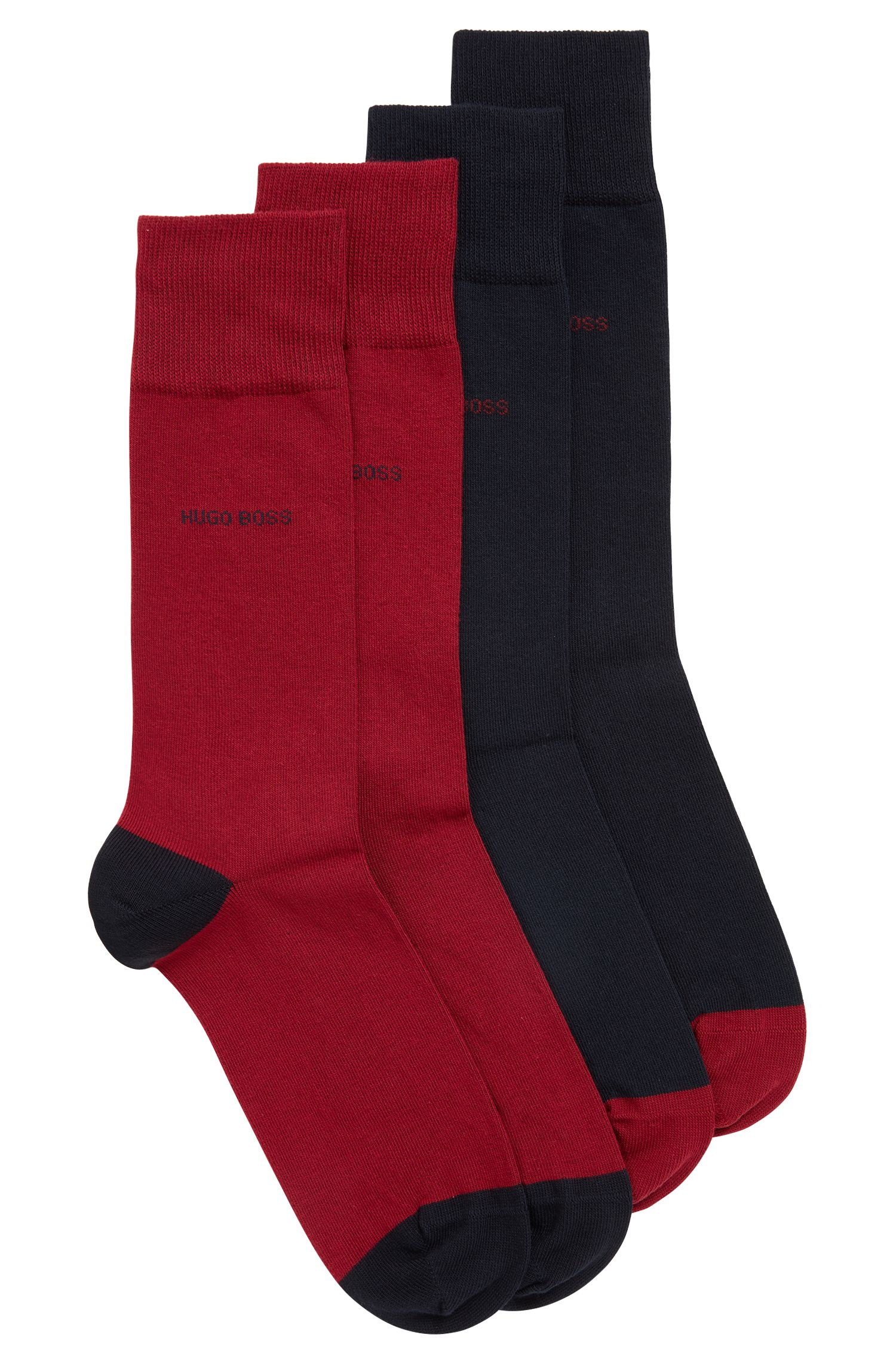 Paquete de dos pares de calcetines en mezcla de algodón elástico, Azul oscuro