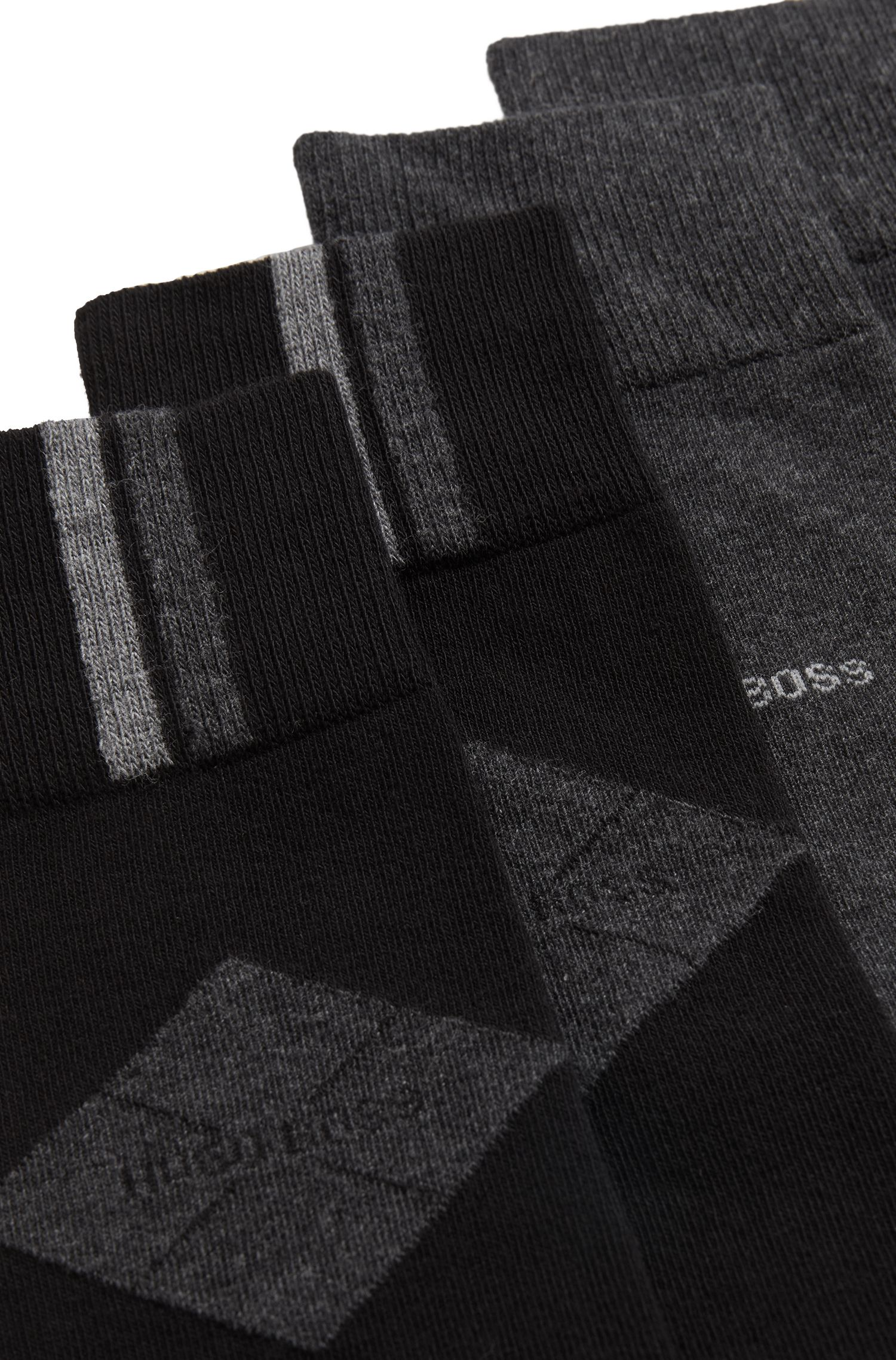 Two-pack of plain and patterned regular-length cotton-blend socks