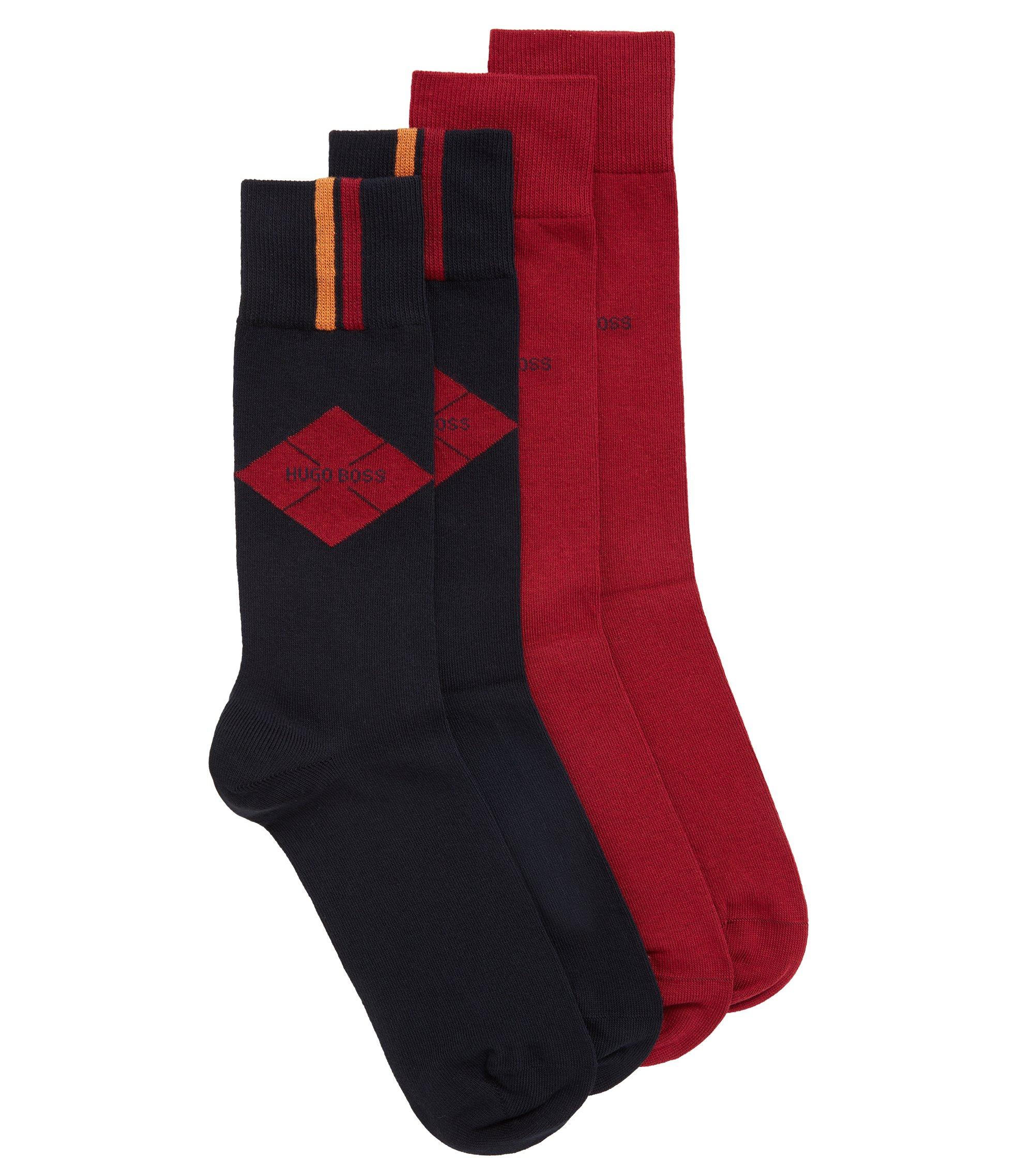 Paquete de 2 pares de calcetines lisos y estampados de largo normal en mezcla de algodón, Azul oscuro