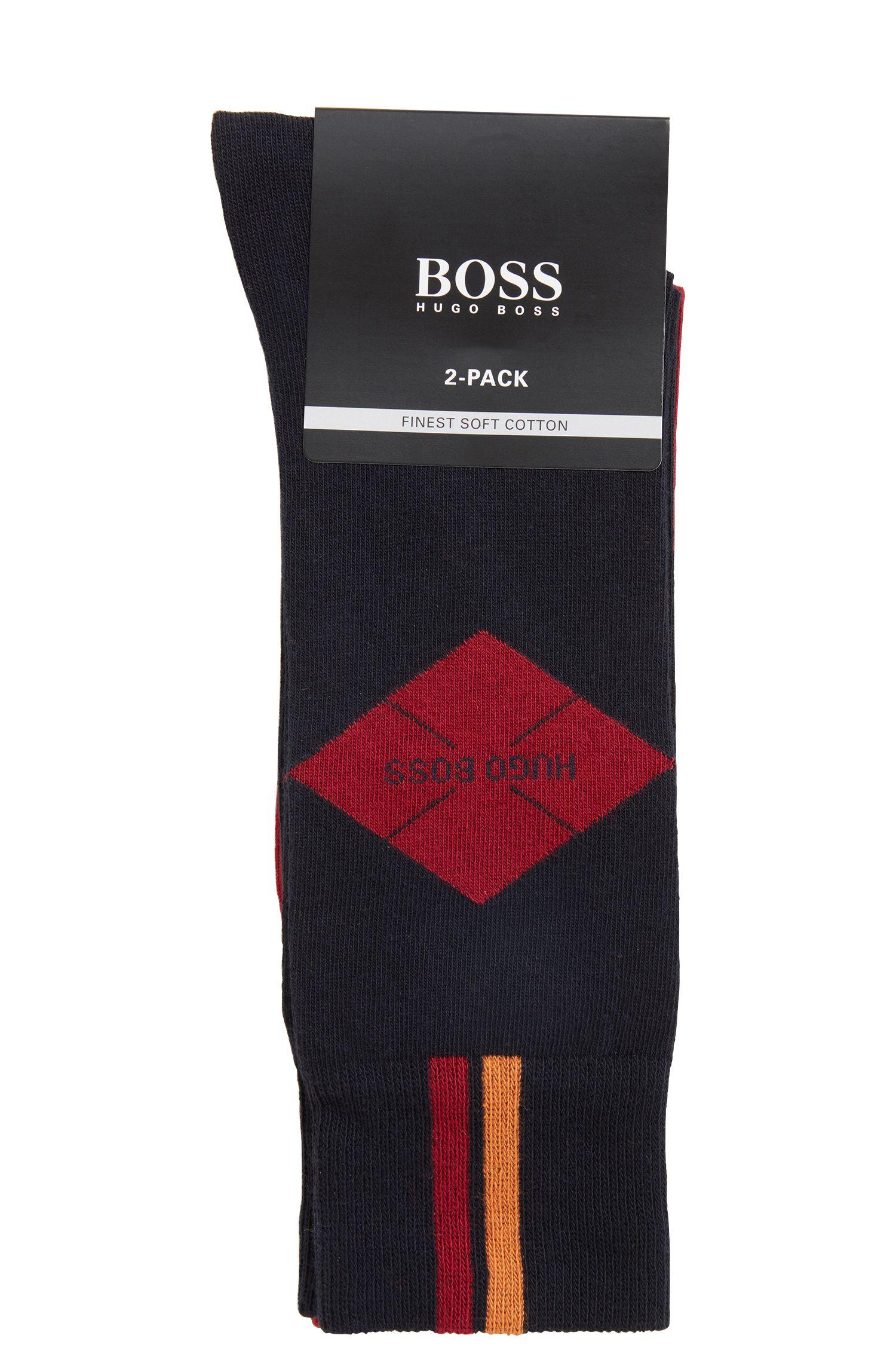 Two-pack of plain and patterned regular-length cotton-blend socks, Dark Blue
