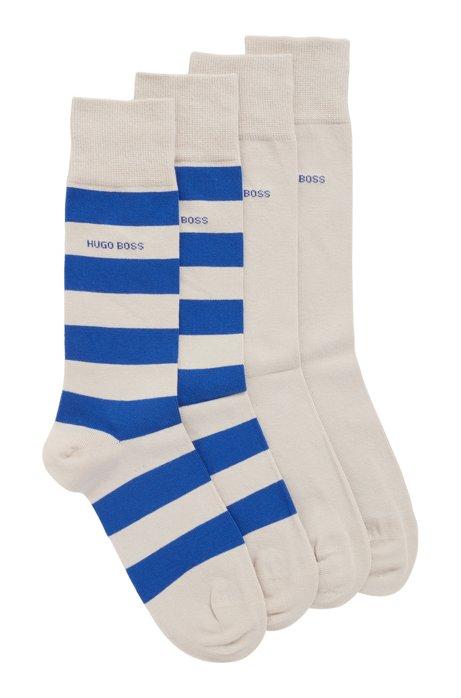 Zweier-Pack Socken aus gekämmtem Baumwoll-Mix, Hellbeige
