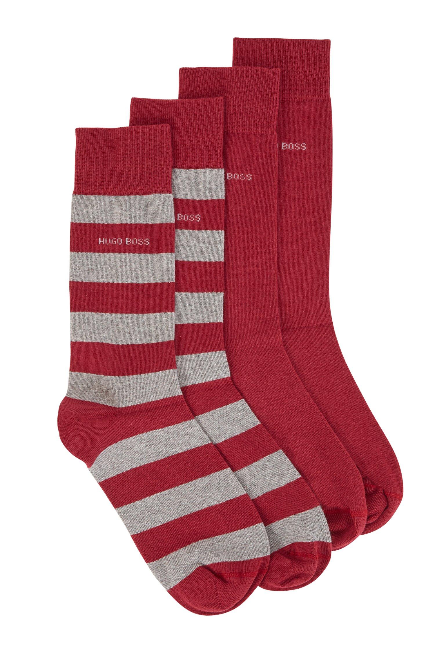 Zweier-Pack Socken aus gekämmtem Baumwoll-Mix, Dunkelrot
