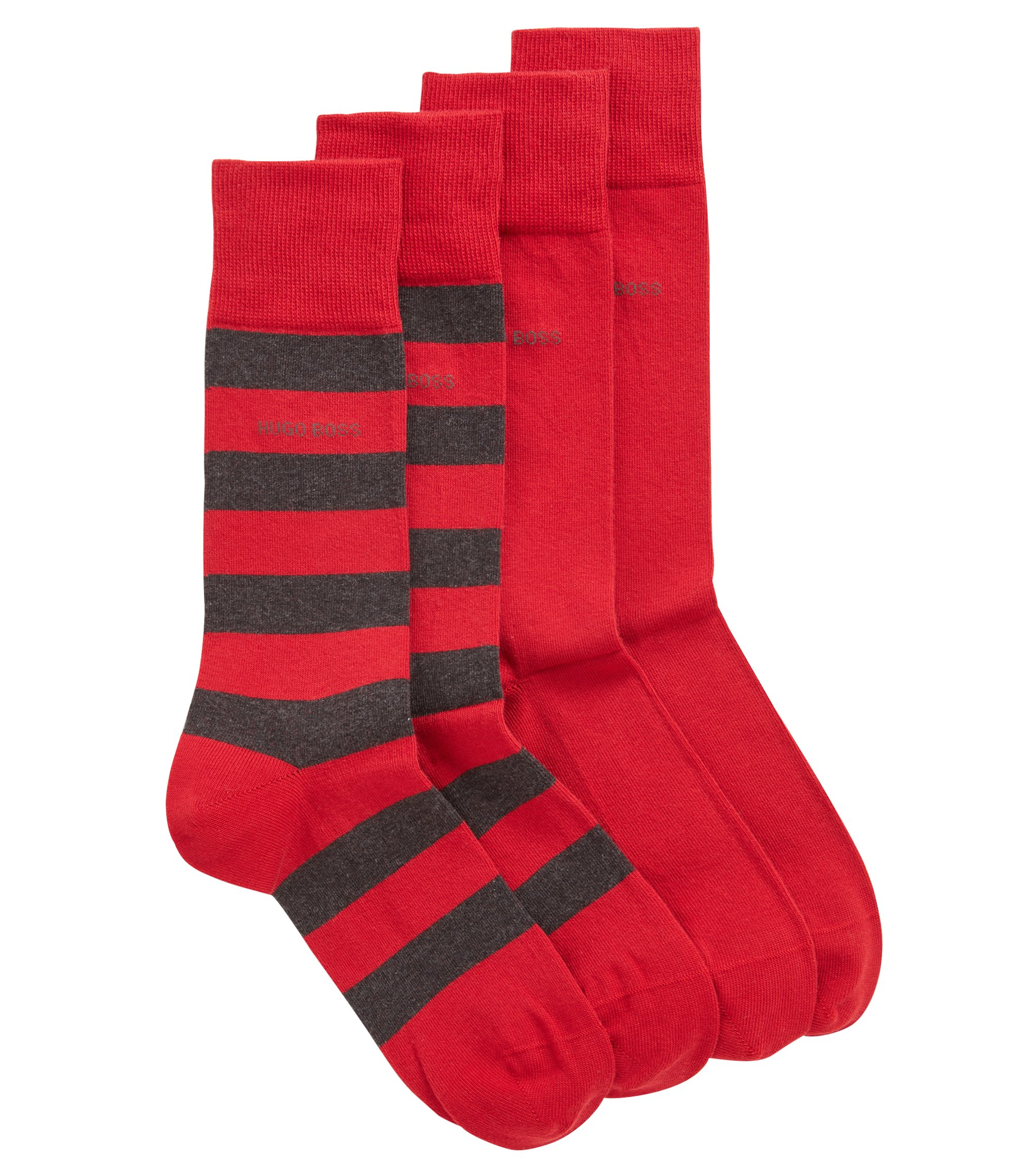 Two-pack of socks in a combed cotton blend, Red