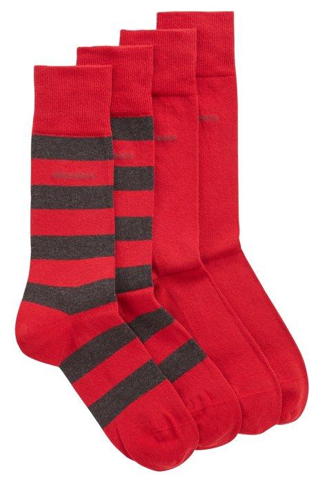 Lot de deux paires de chaussettes en coton peigné mélangé, Rouge