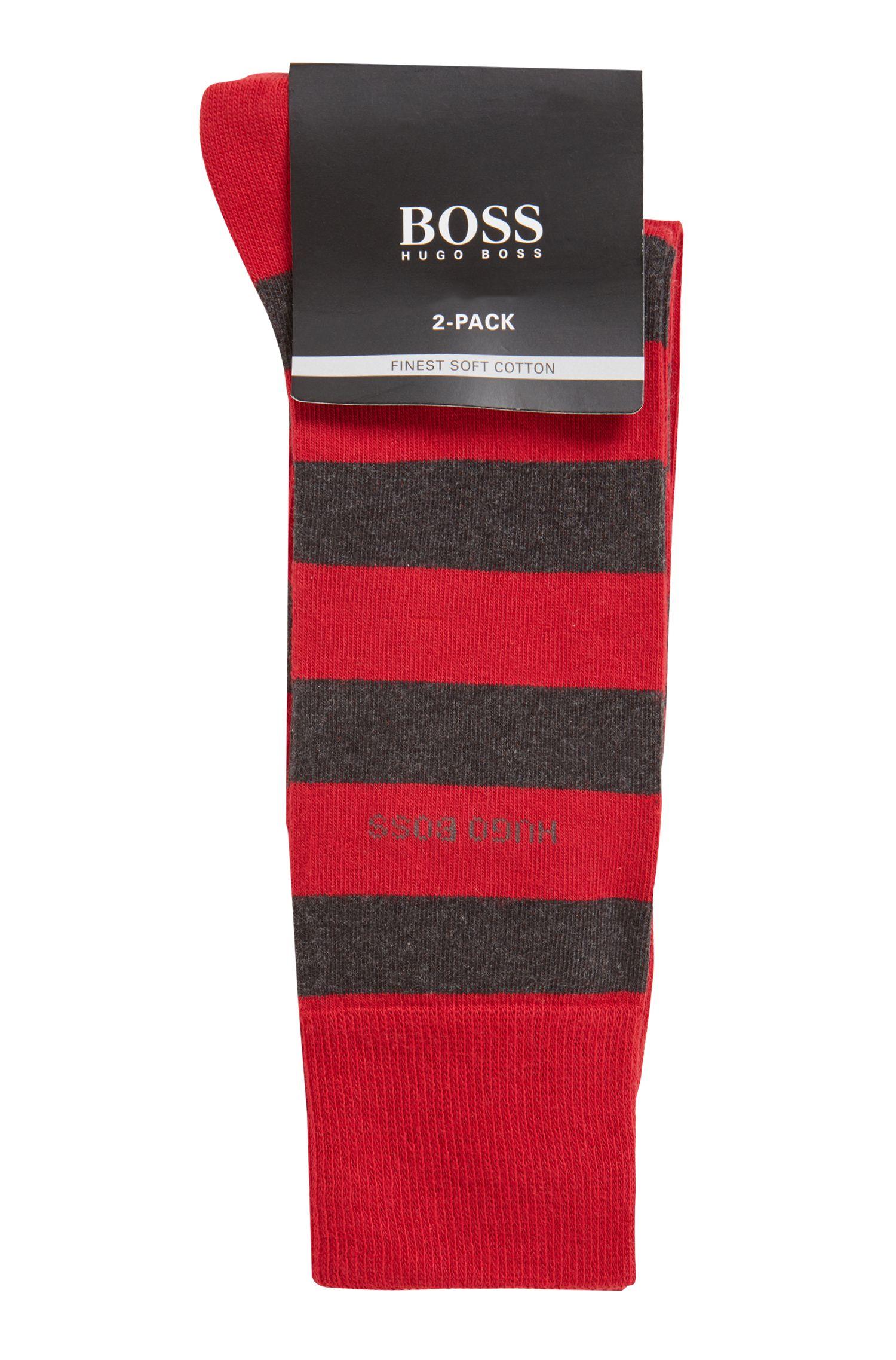 Zweier-Pack Socken aus gekämmtem Baumwoll-Mix, Rot