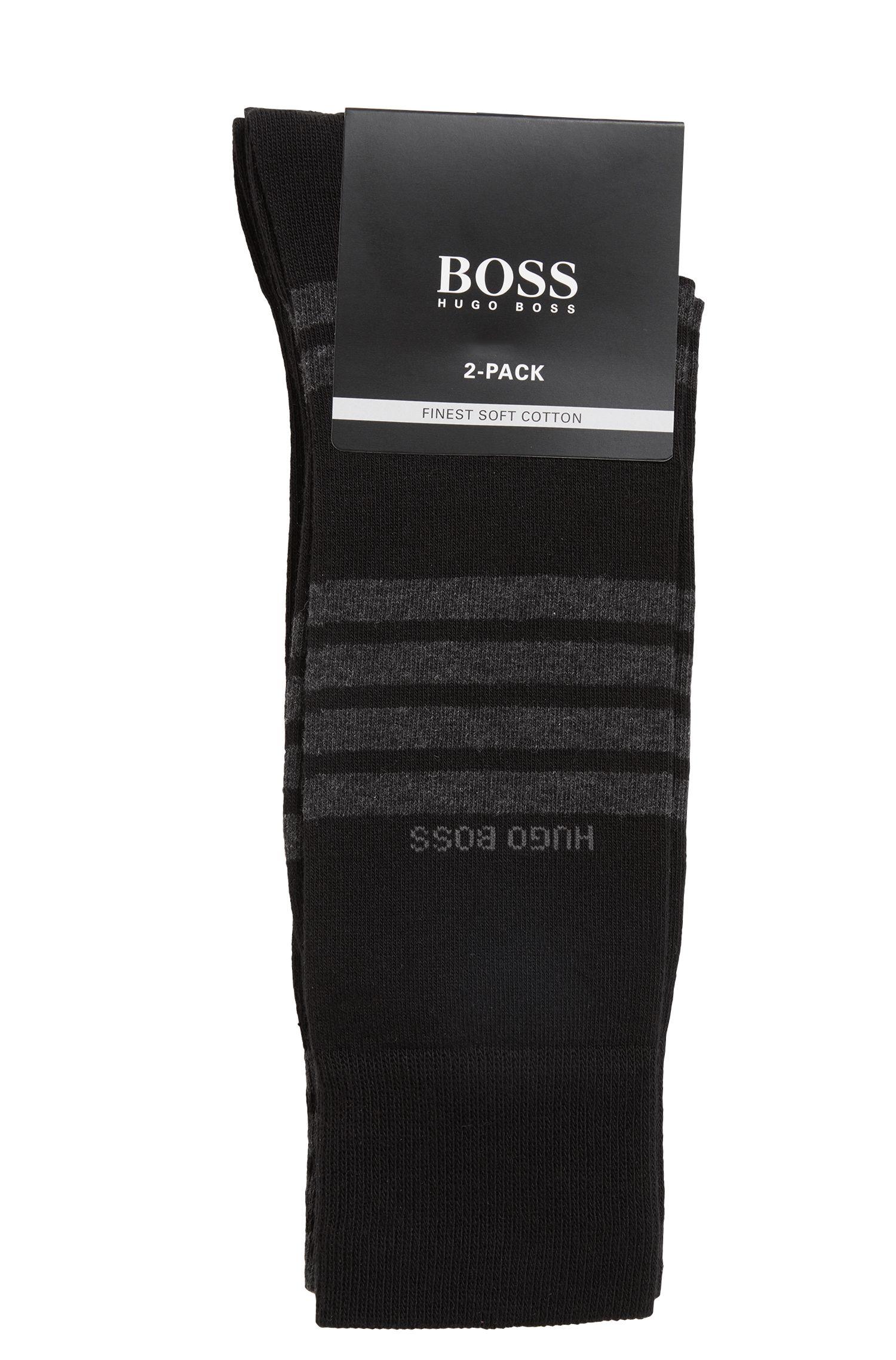 Chaussettes en coton mélangé à rayures, en lot de deux, Noir