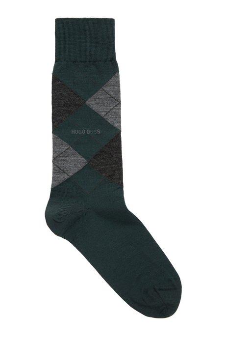 Chaussettes mi-mollet en laine mélangée, à motif argyle, Vert sombre