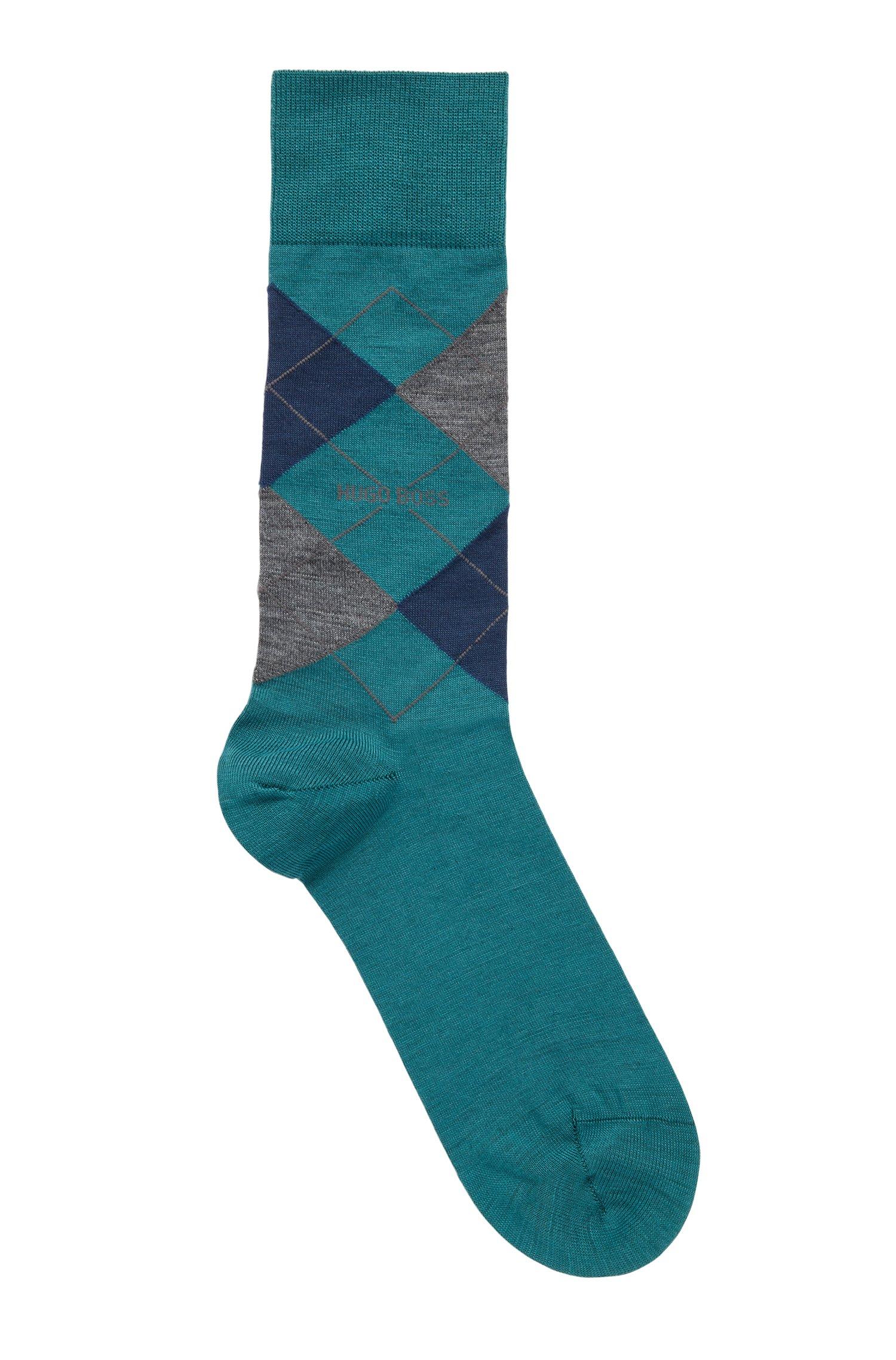 Regular-length wool-blend socks with argyle motif, Green