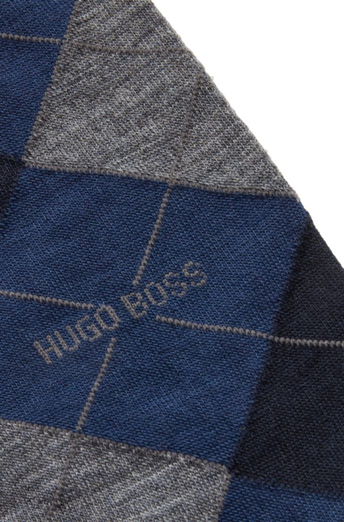 Regular-length cotton-blend socks with Argyle pattern