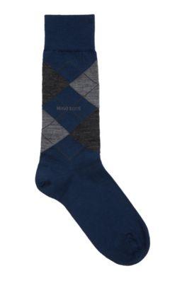 Chaussettes mi-mollet en laine mélangée, à motif argyle, Bleu foncé