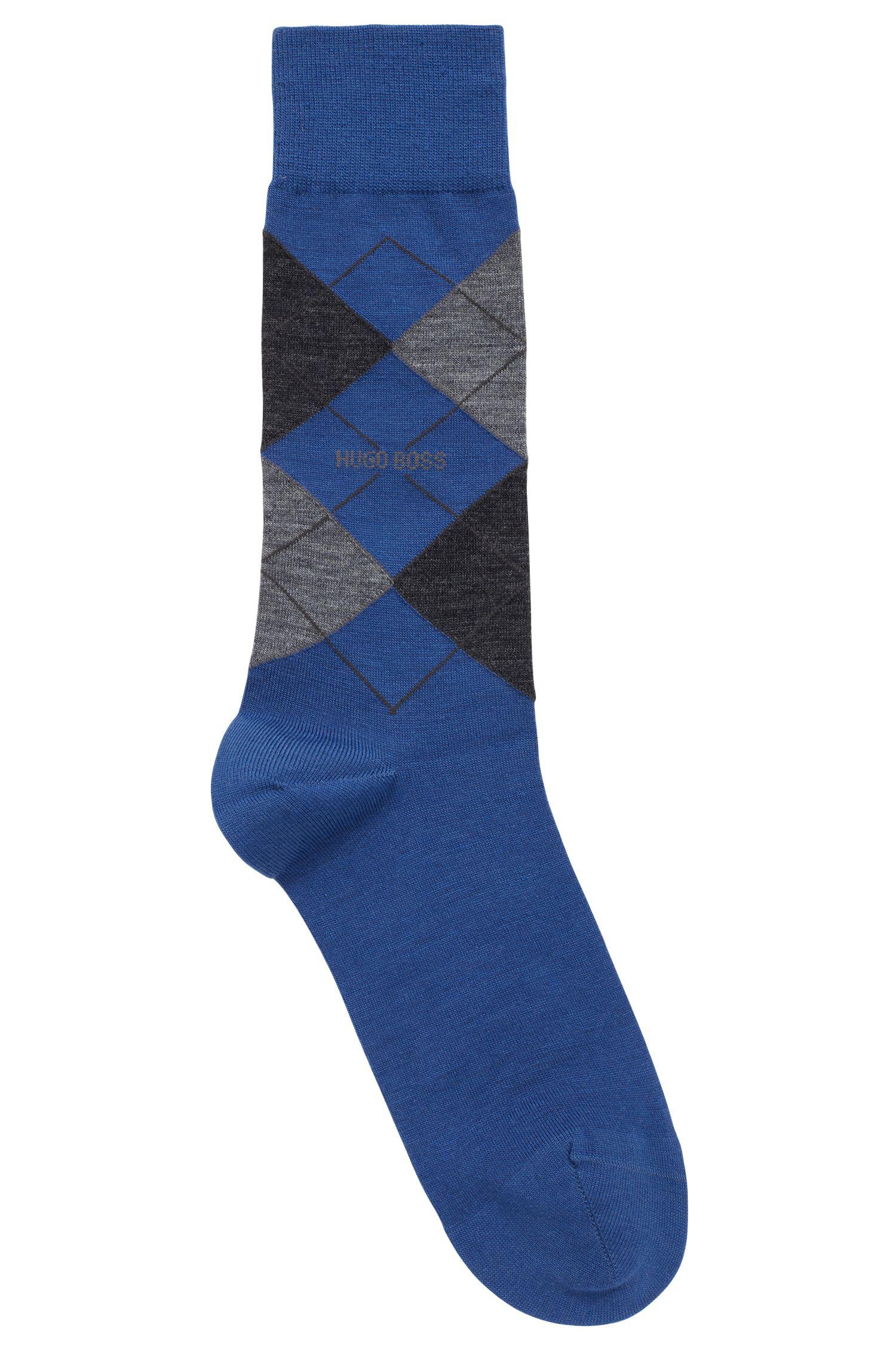Calcetines de largo normal en mezcla de lana con motivo de rombos, Azul