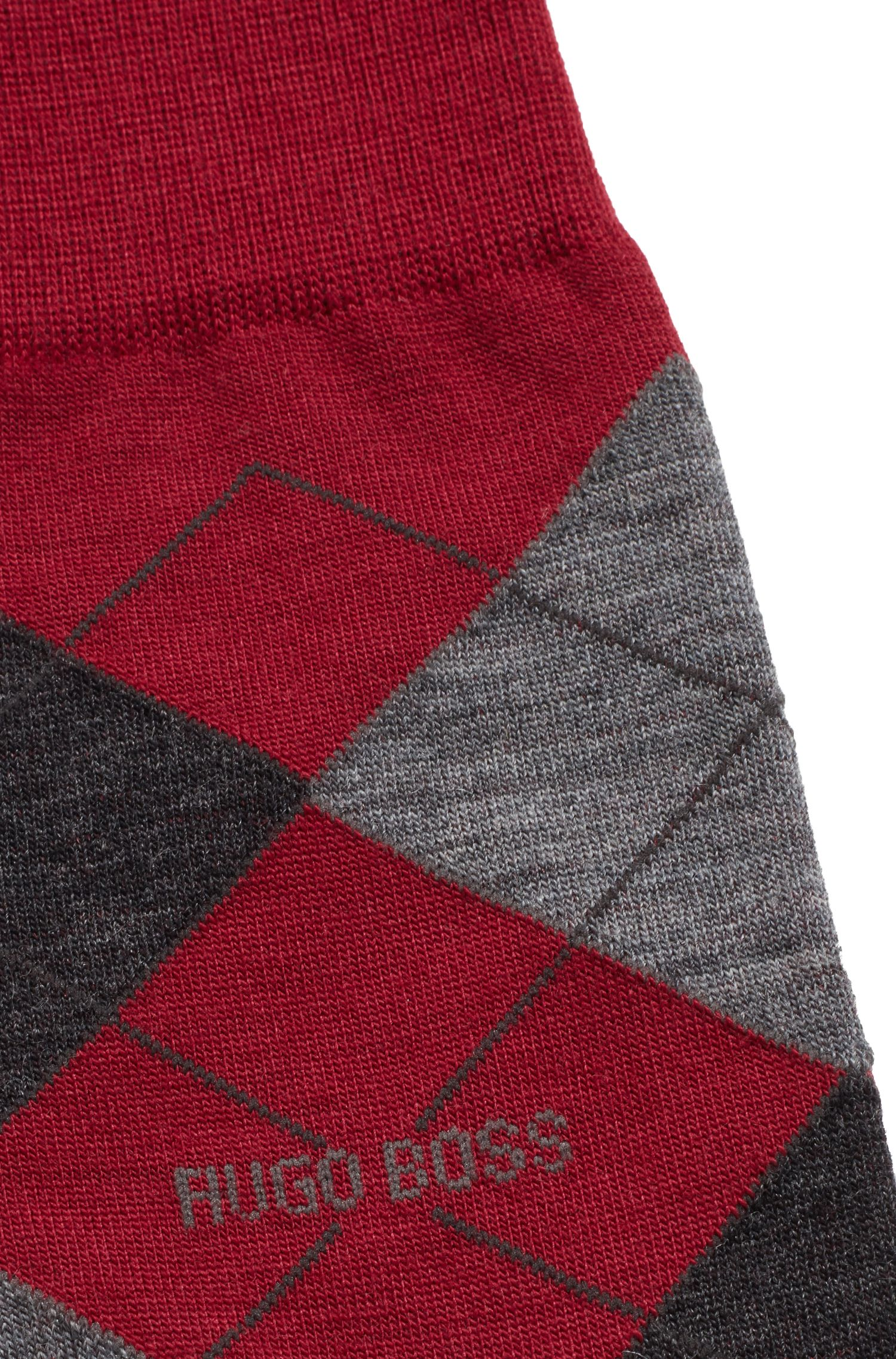 Regular-length wool-blend socks with argyle motif, Dark Red