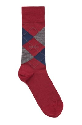 Regular-length cotton-blend socks with Argyle pattern, Dark Red