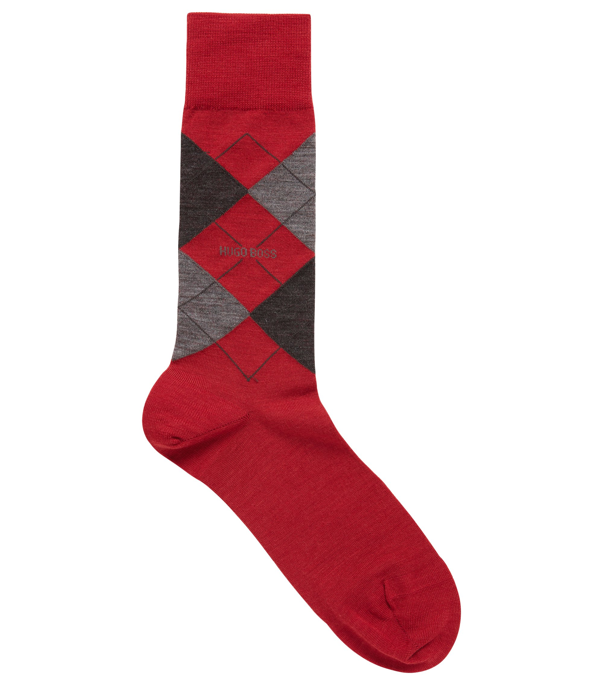 Regular-length wool-blend socks with argyle motif, Red