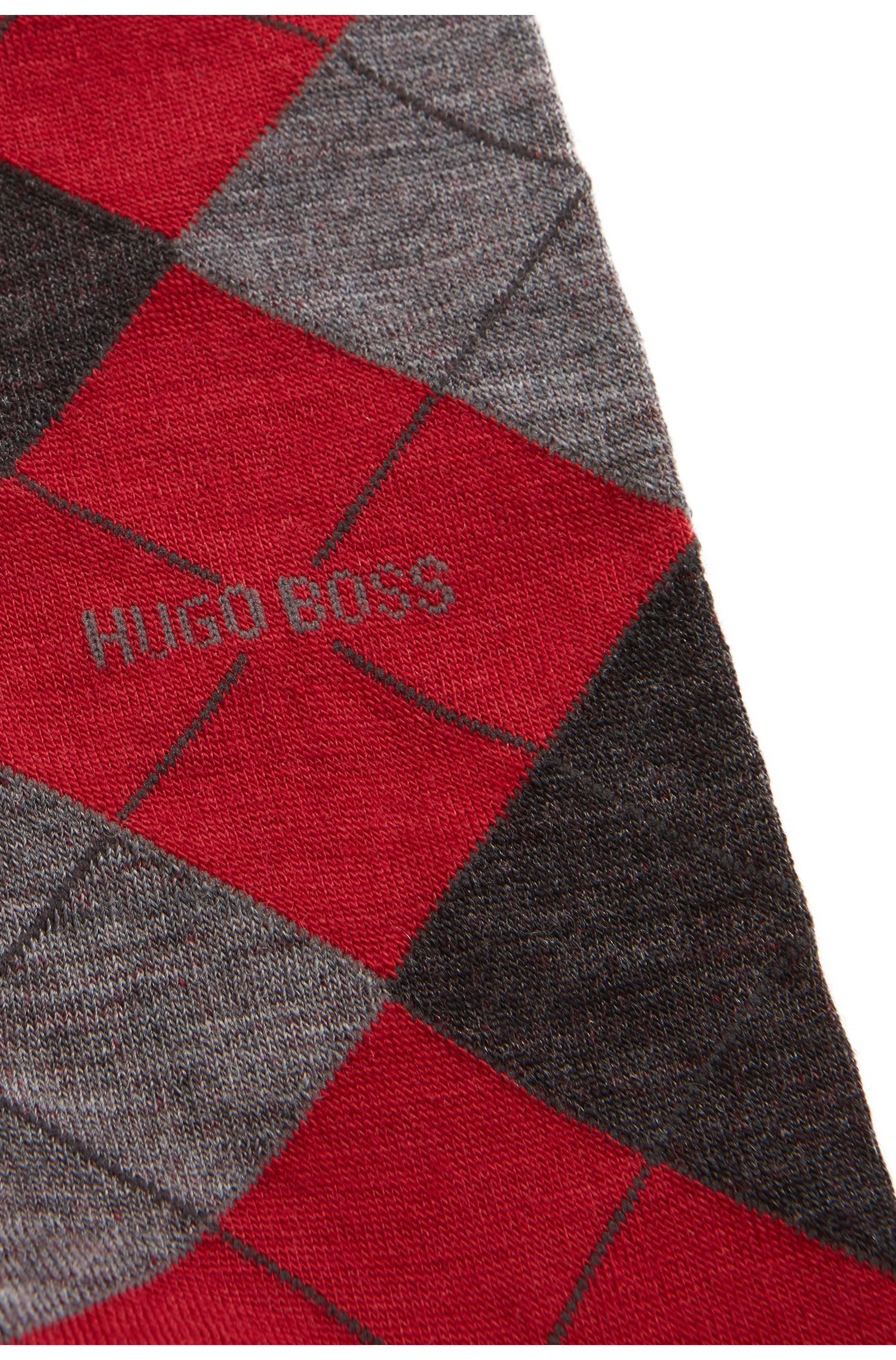 Regular-length wool-blend socks with argyle motif, Red
