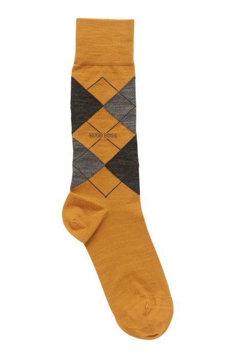 Regular-length wool-blend socks with argyle motif, Open Yellow