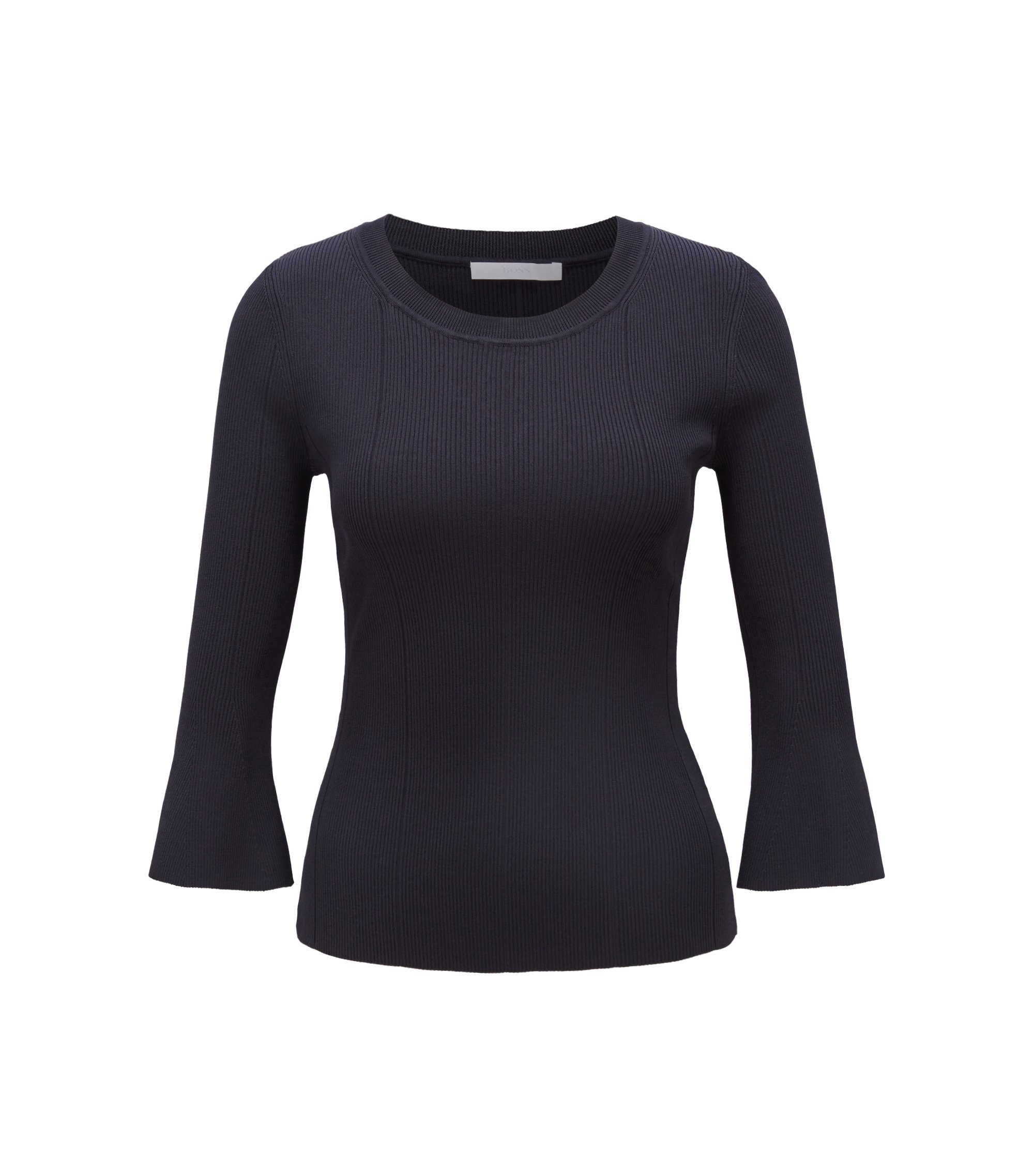 Slim-fit sweater in technical fabric with flared sleeves, Dark Blue
