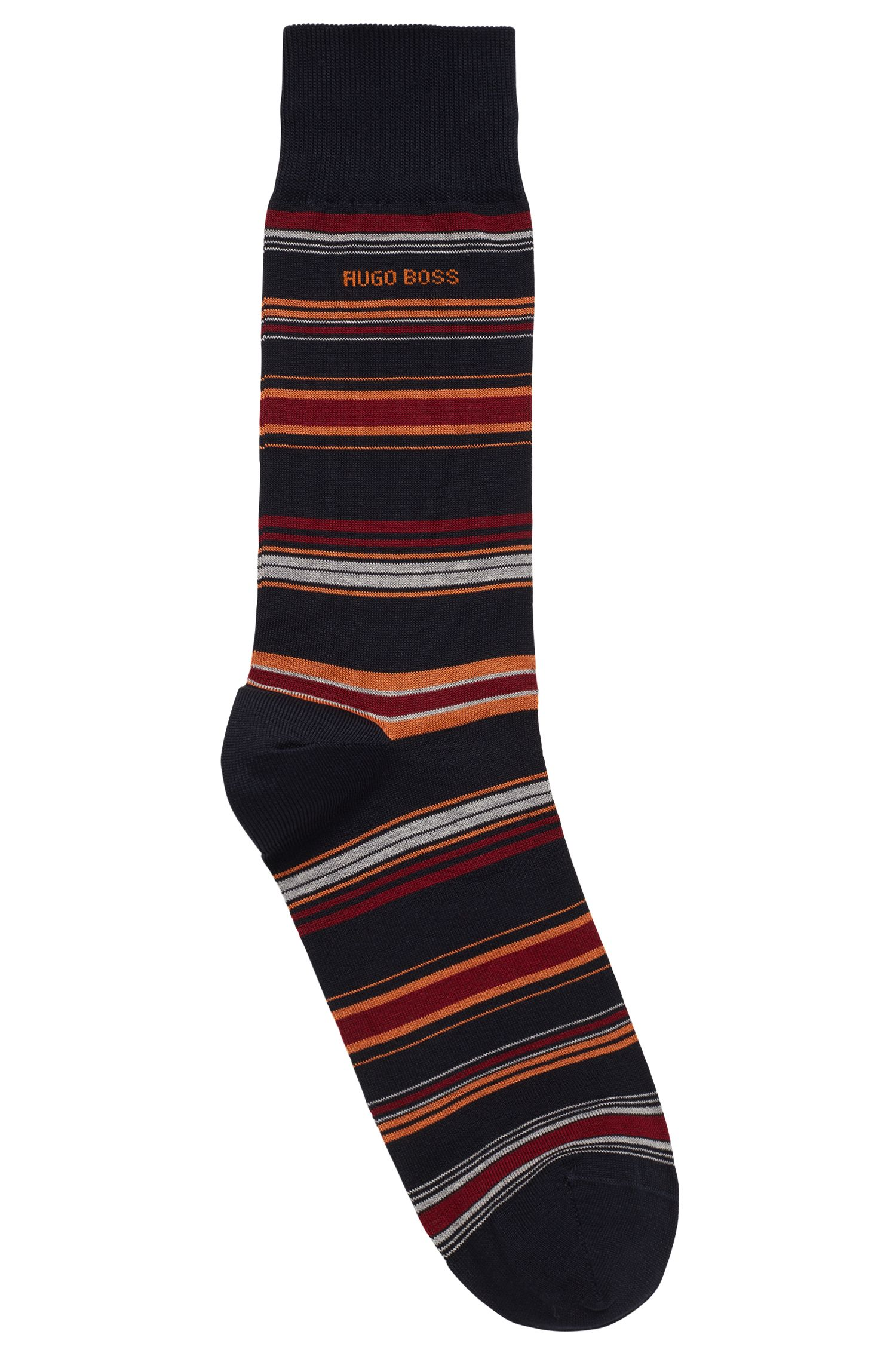 Horizontaal gestreepte sokken van een gemerceriseerde katoenmix, Donkerblauw
