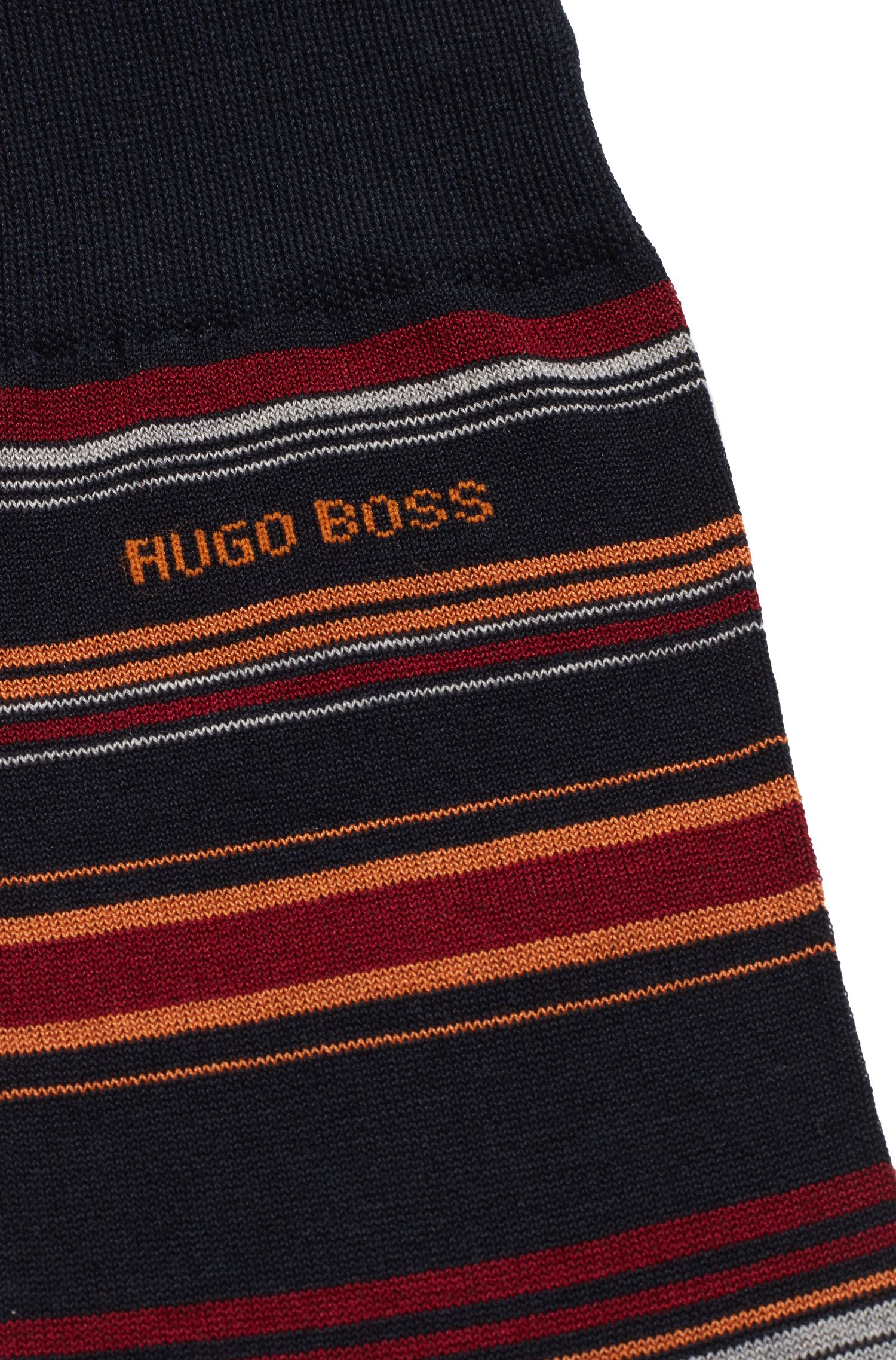 Chaussettes à rayures horizontales en coton mélangé mercerisé, Bleu foncé