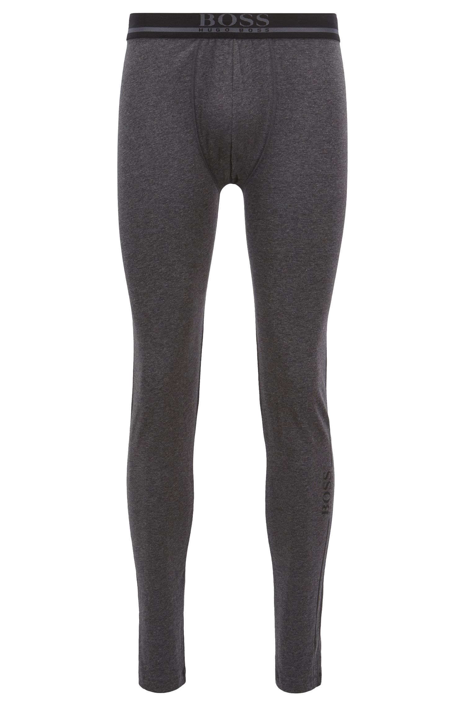 Regular-rise long johns in stretch cotton with logo, Grey