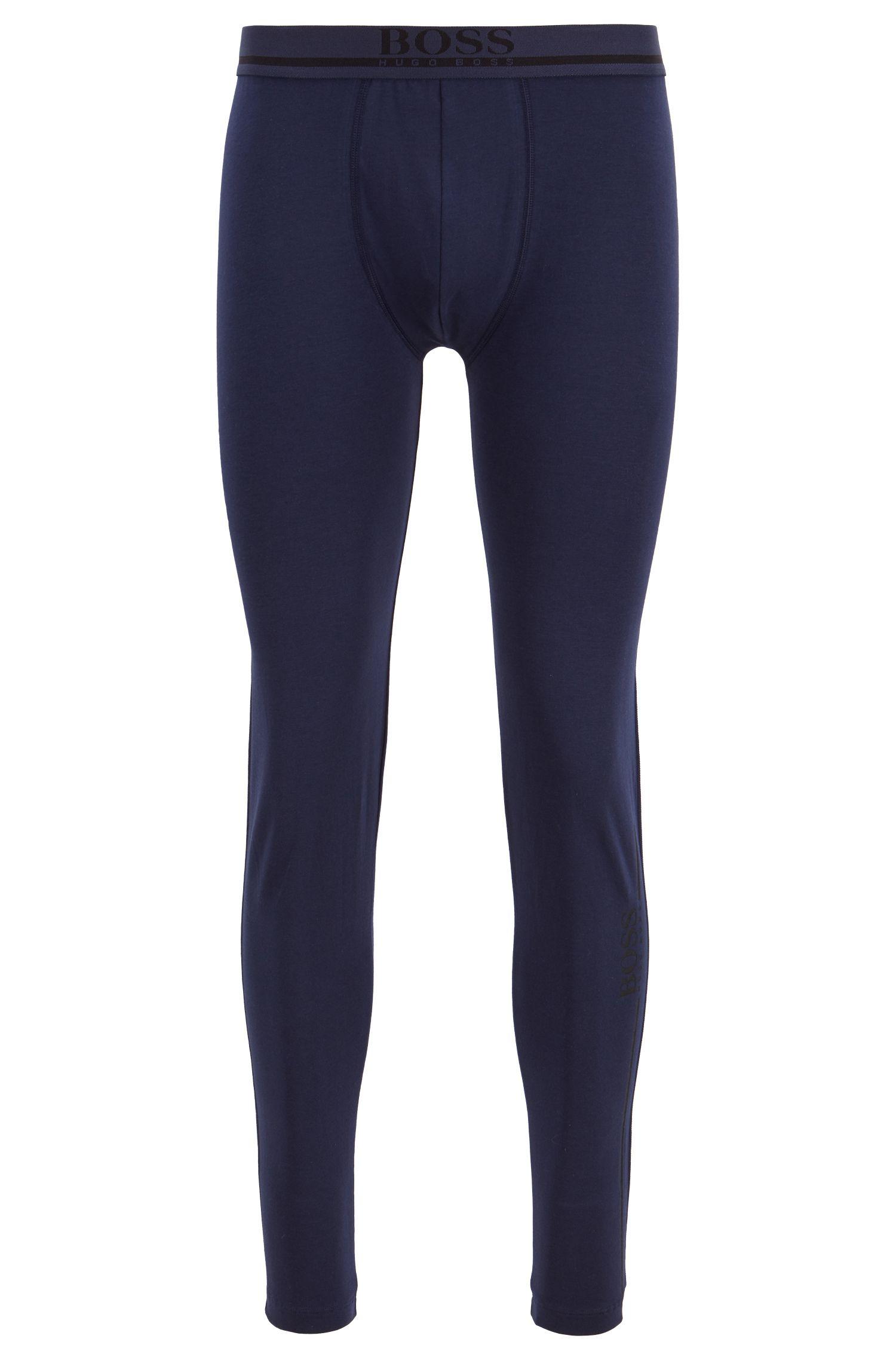 Calzoncillos largos de tiro normal en algodón elástico con logo, Azul oscuro