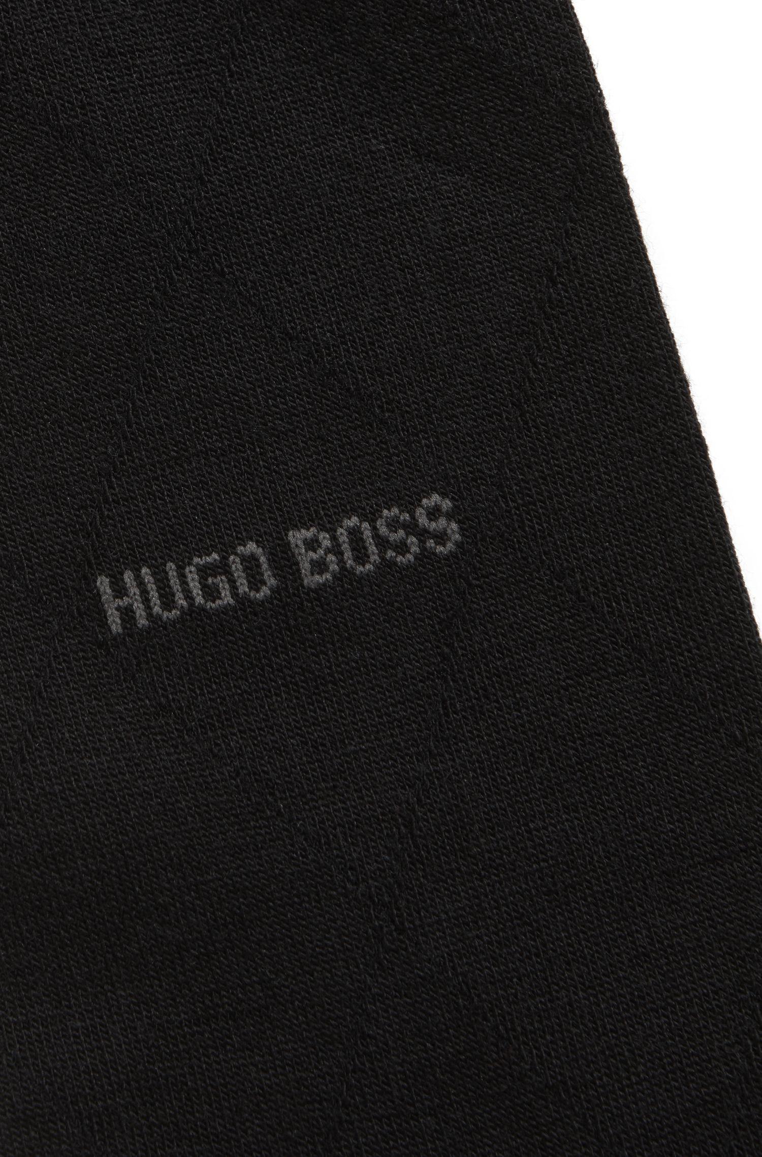 Calcetines de largo normal en mezcla de lana con logo en contraste, Negro