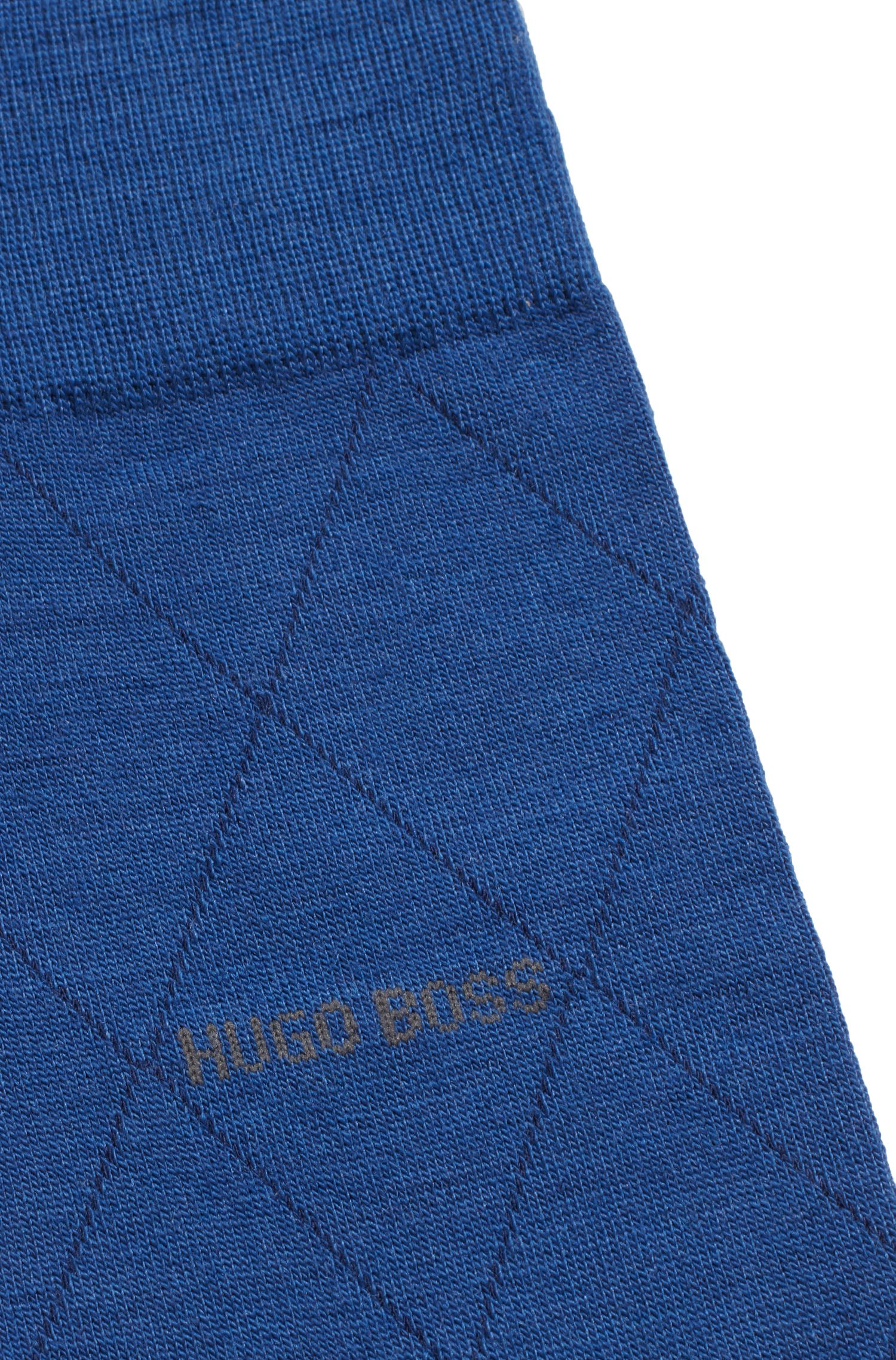 Mittelhohe Socken aus Woll-Mix mit kontrastfarbenem Logo, Blau