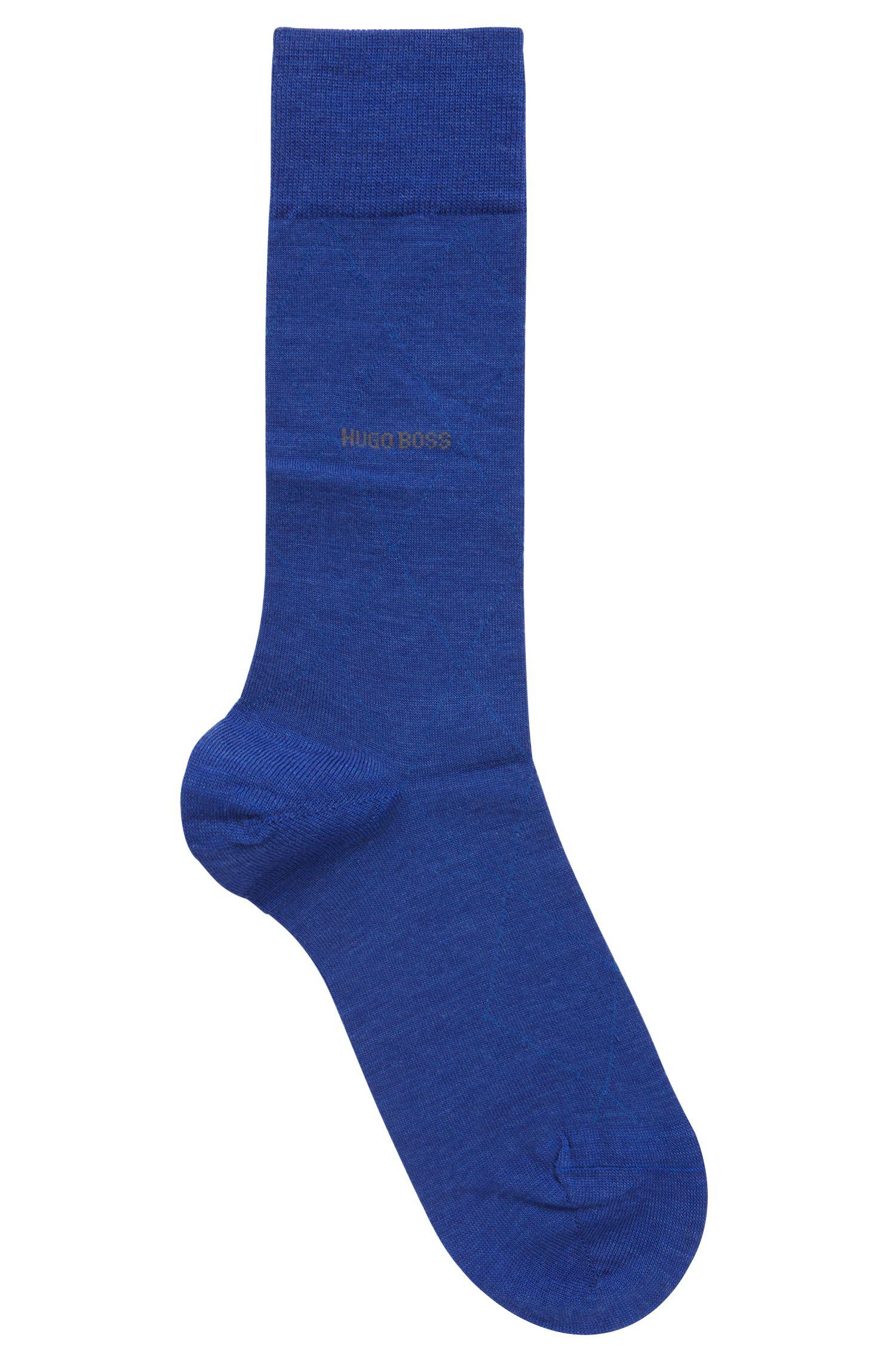 Calcetines de largo normal en mezcla de lana con logo en contraste, Azul