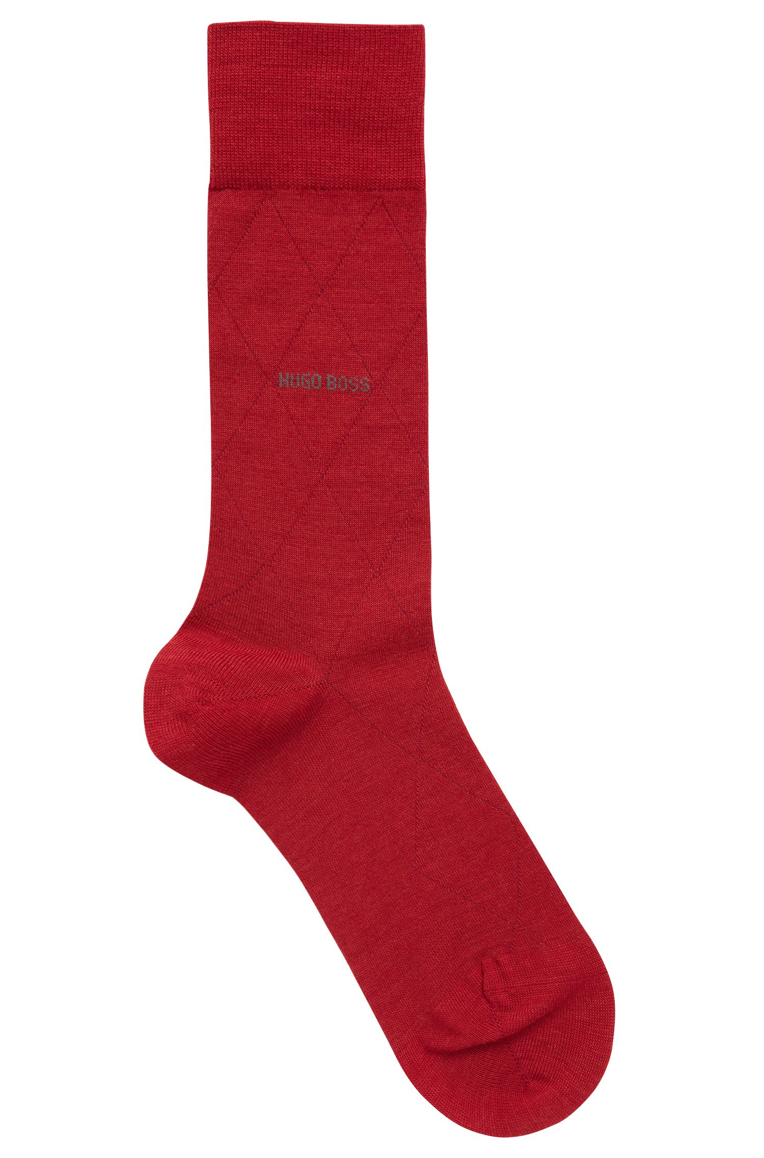Regular-length wool-blend socks with contrast logo, Red