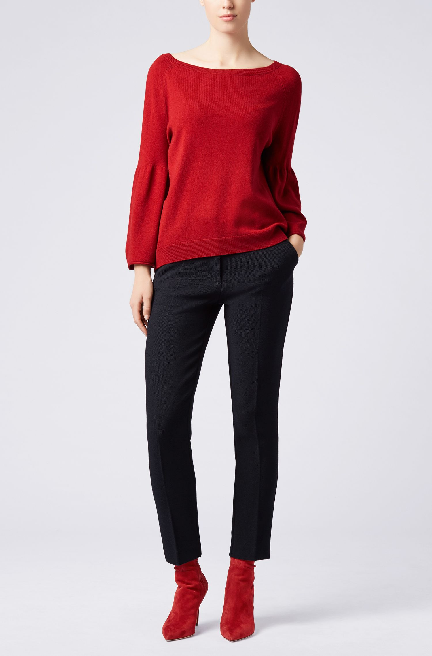 Relaxed-fit sweater in a wool blend with cashmere, Dark Red