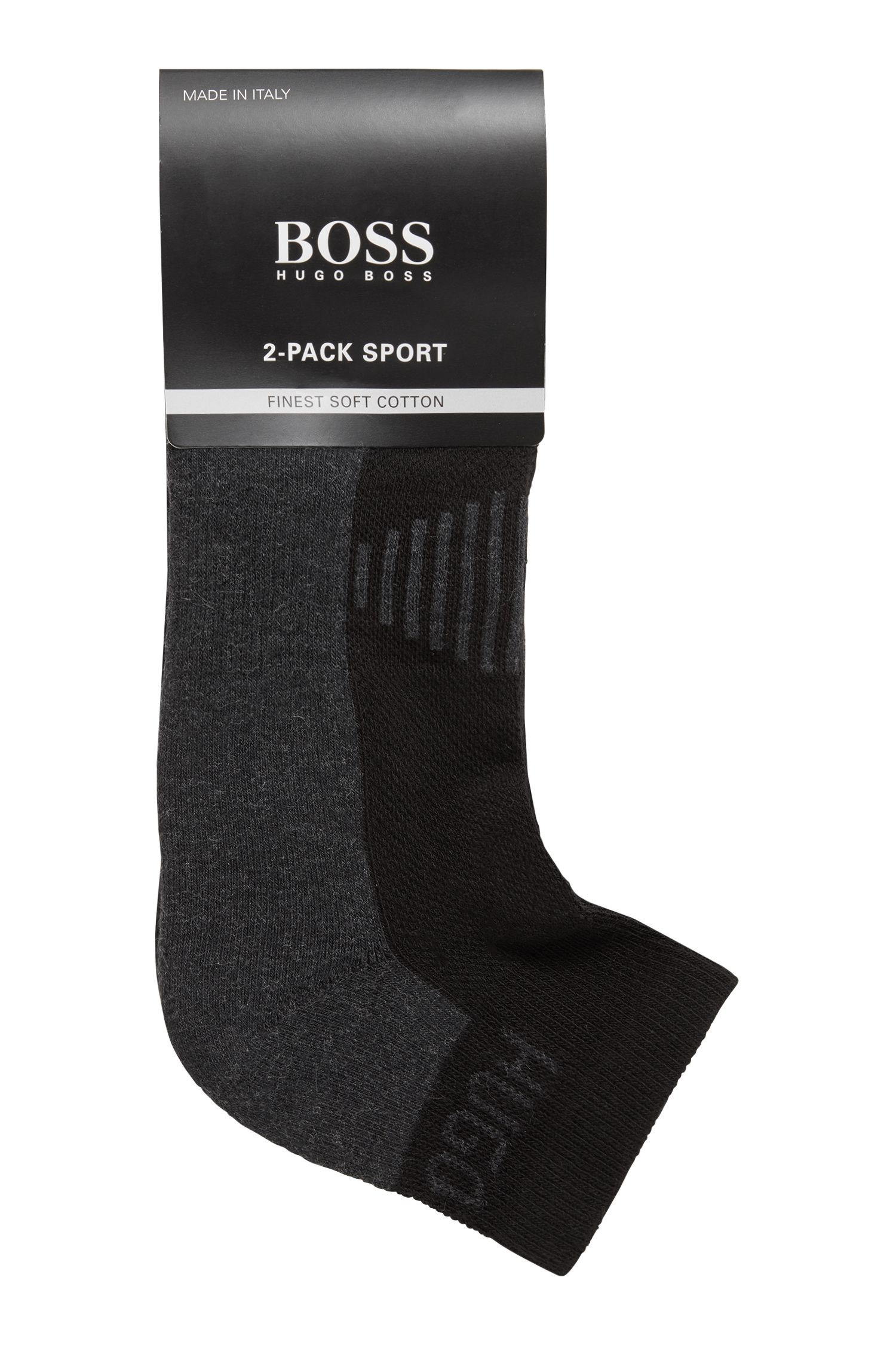 Two-pack of cotton-blend ankle socks with cushioning, Black