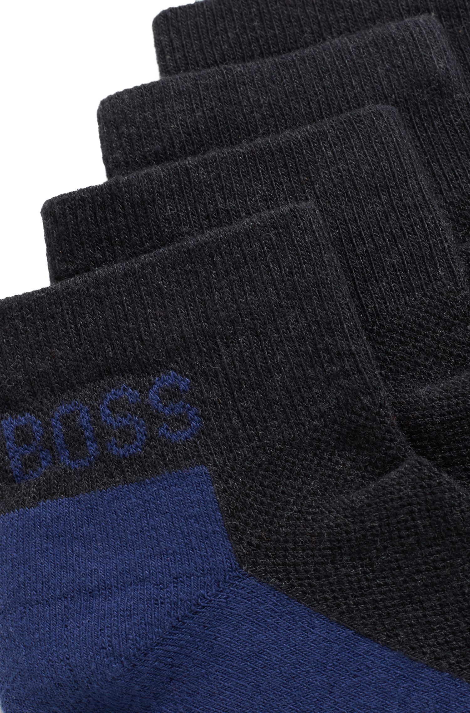 Two-pack of cotton-blend ankle socks with cushioning, Anthracite