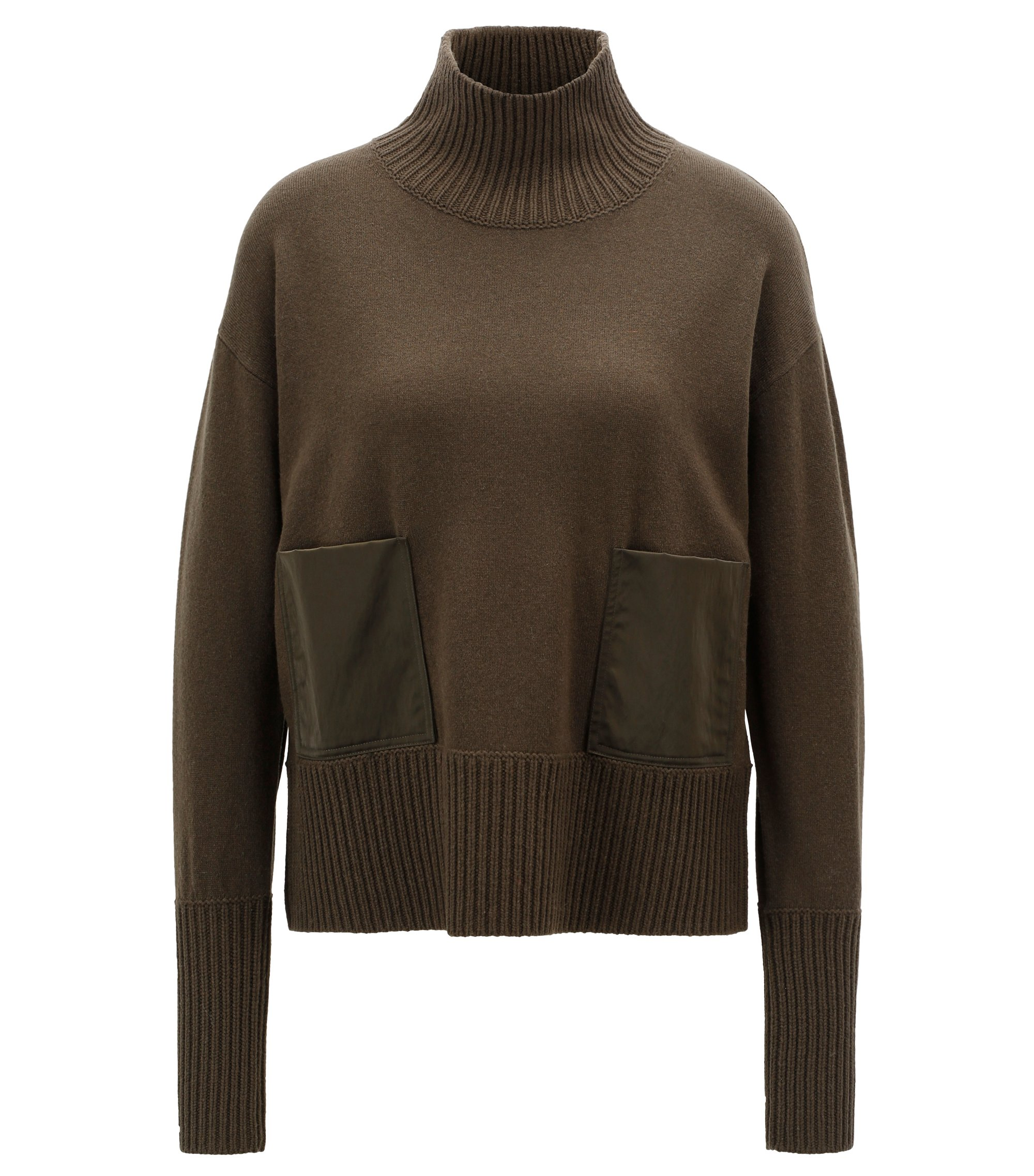 Wool-blend sweater with patch pockets and funnel neck, Dark Green