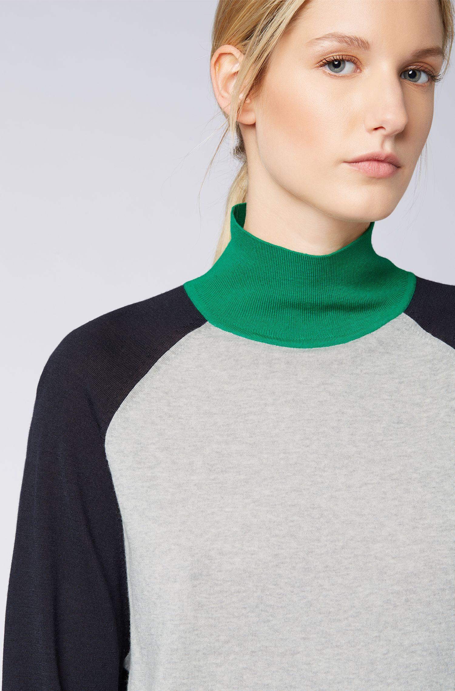 Rollkragenpullover aus Merinowolle mit Colour-Block-Design, Gemustert