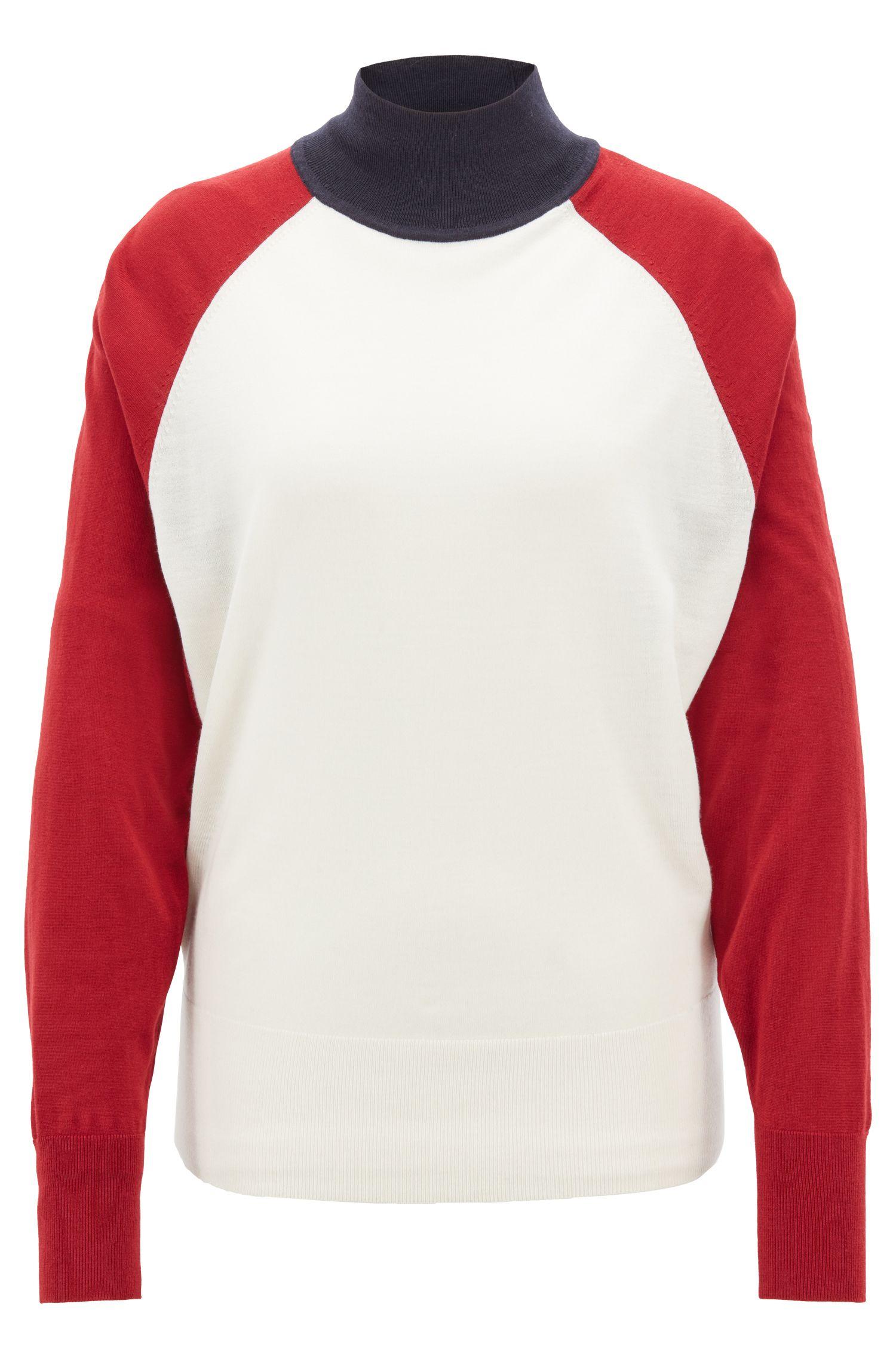 Jersey de cuello alto relaxed fit en lana de merino, Fantasía