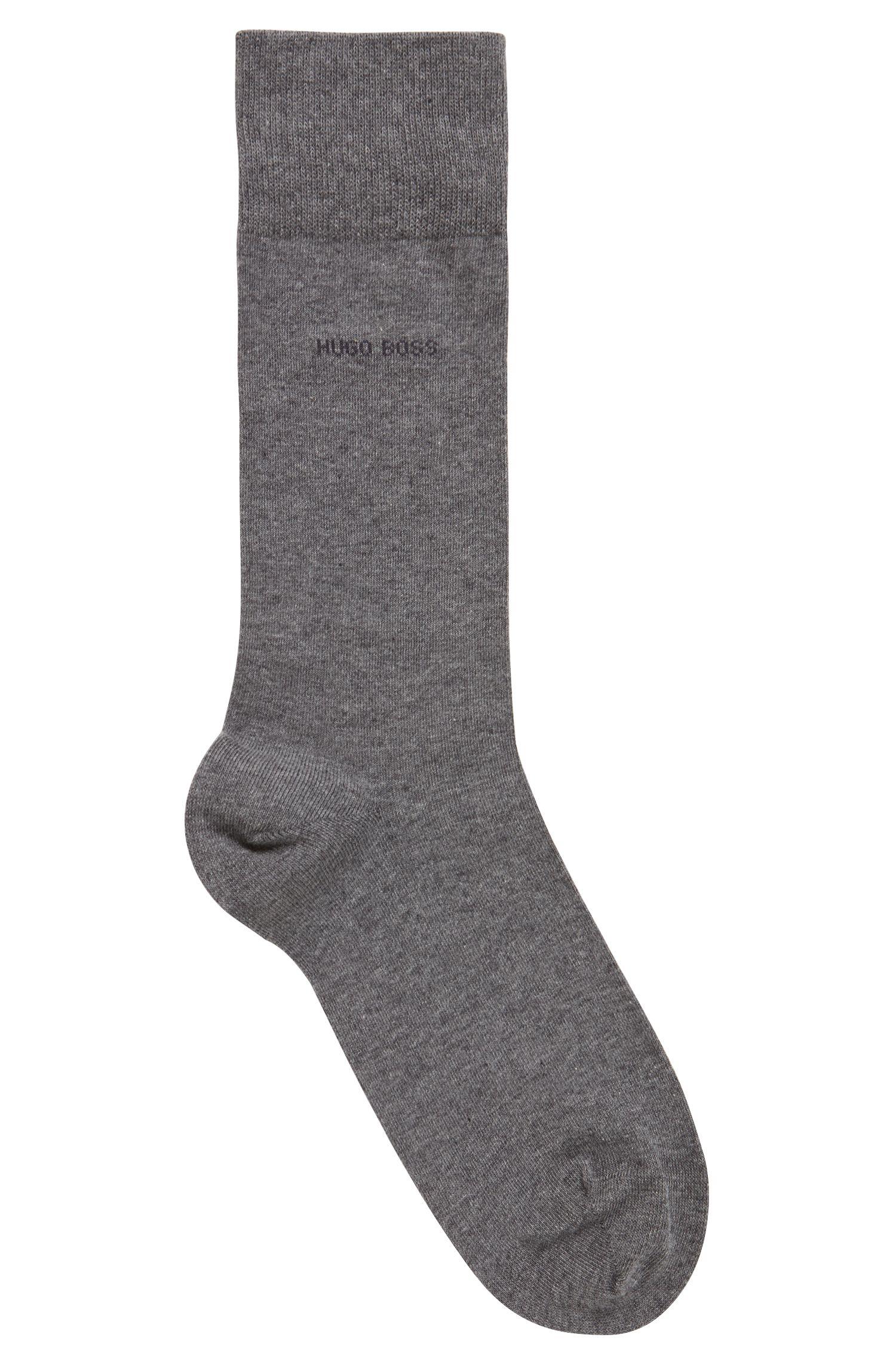 Calze di lunghezza media in cotone elasticizzato pettinato, Grigio