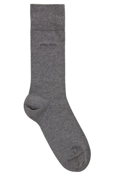 Calcetines de largo normal en algodón elástico peinado, Gris