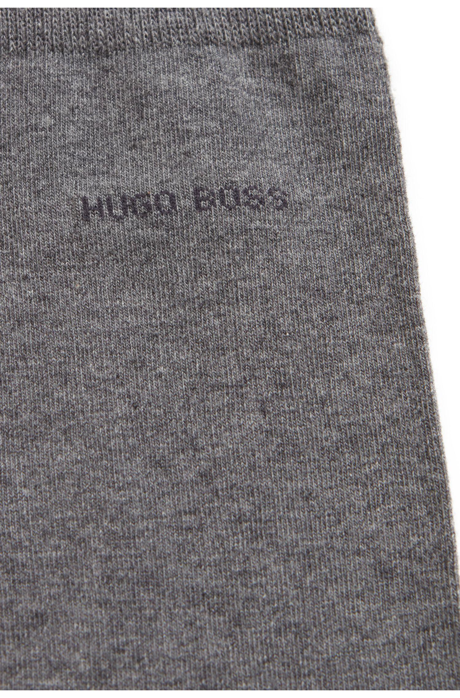 Mittelhohe Socken aus gekämmter Stretch-Baumwolle, Grau