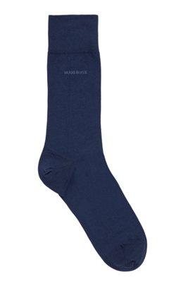 Chaussettes mi-mollet en coton peigné stretch, Bleu foncé