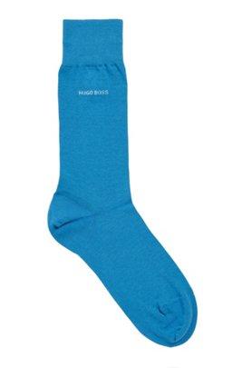 Chaussettes mi-mollet en coton peigné stretch, Bleu