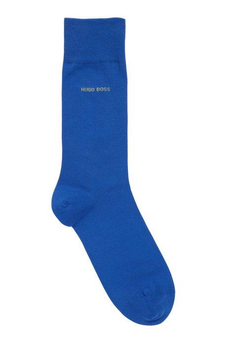Calze di lunghezza media in cotone elasticizzato pettinato, Blu