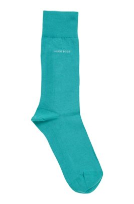 Regular-length socks in combed stretch cotton, Turquoise