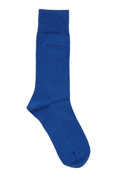 Chaussettes mi-mollet en coton peigné stretch, bleu clair