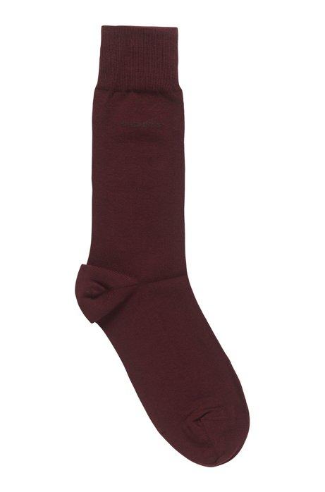 Chaussettes mi-mollet en coton peigné stretch, Rouge sombre